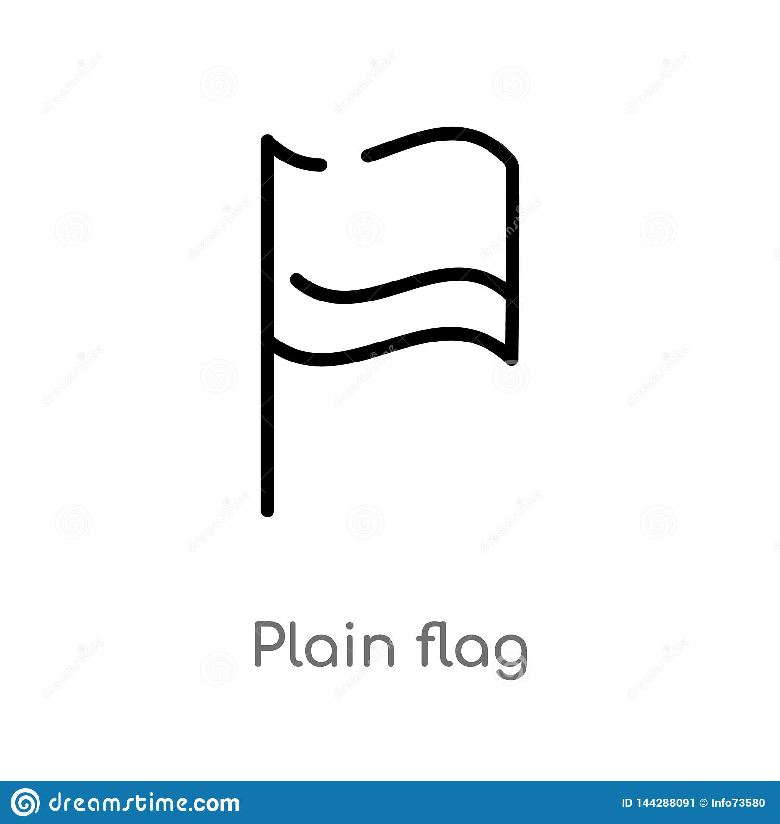 outline plain flag vector icon. isolated black simple line element illustration from maps and flags concept. editable vector