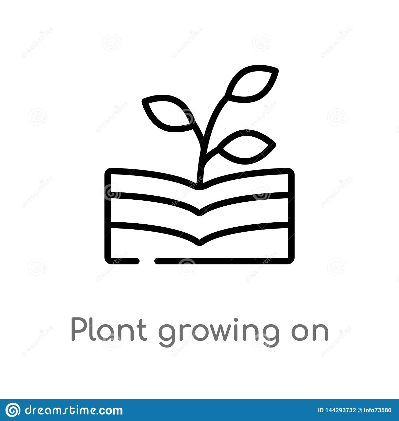 outline plant growing on book vector icon. isolated black simple line element illustration from nature concept. editable vector