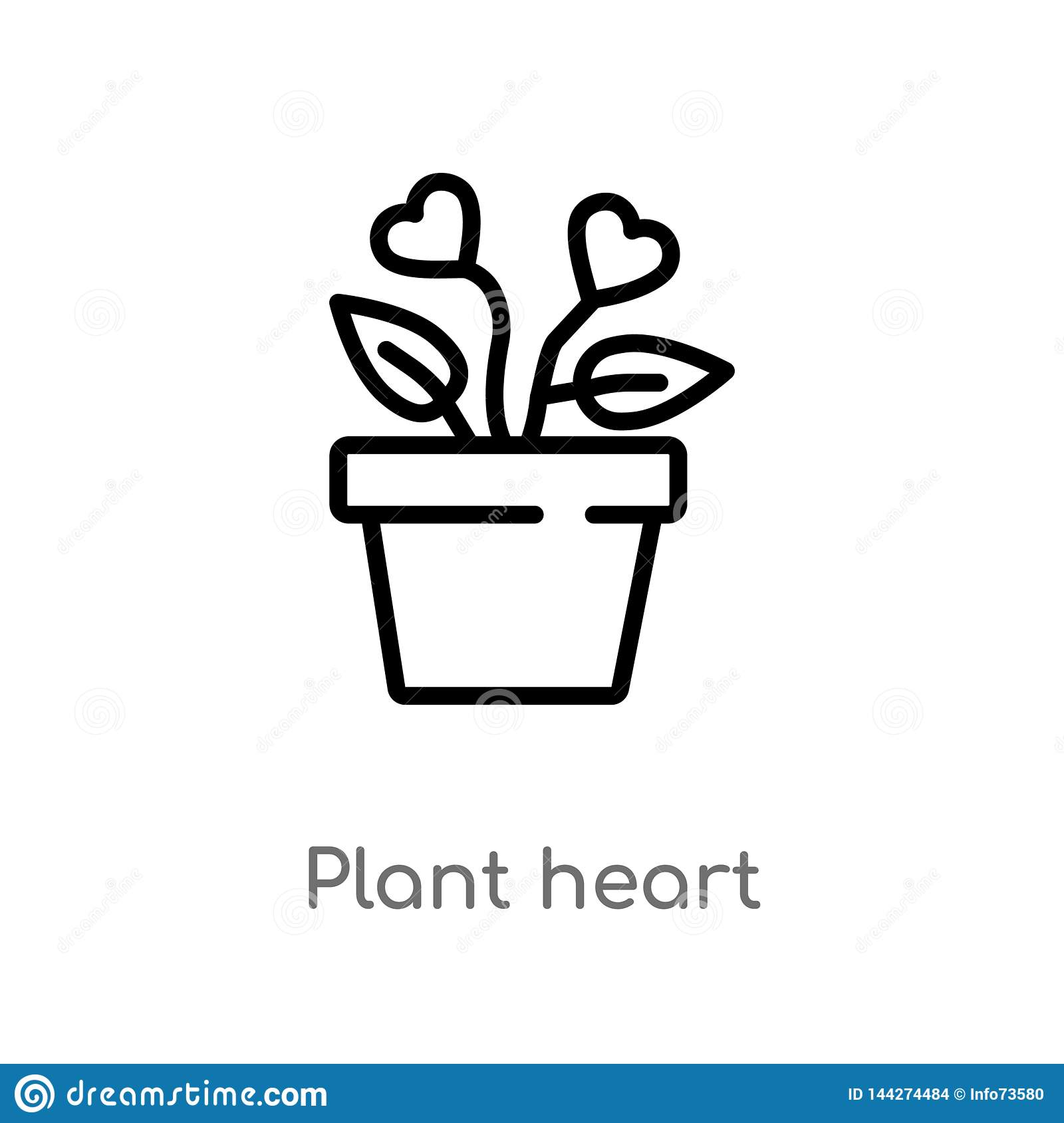 outline plant heart vector icon. isolated black simple line element illustration from charity concept. editable vector stroke