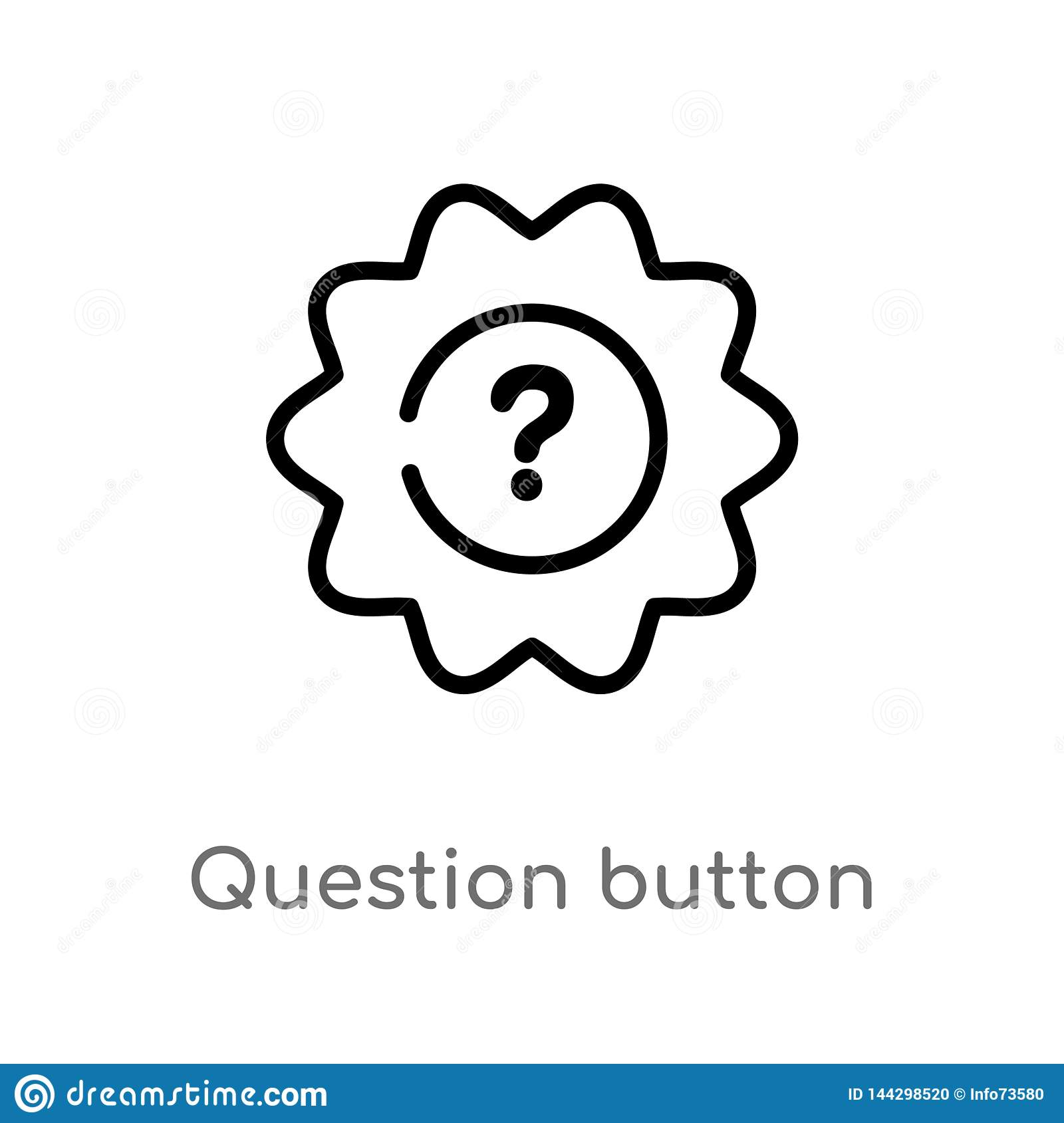 outline question button vector icon. isolated black simple line element illustration from user interface concept. editable vector