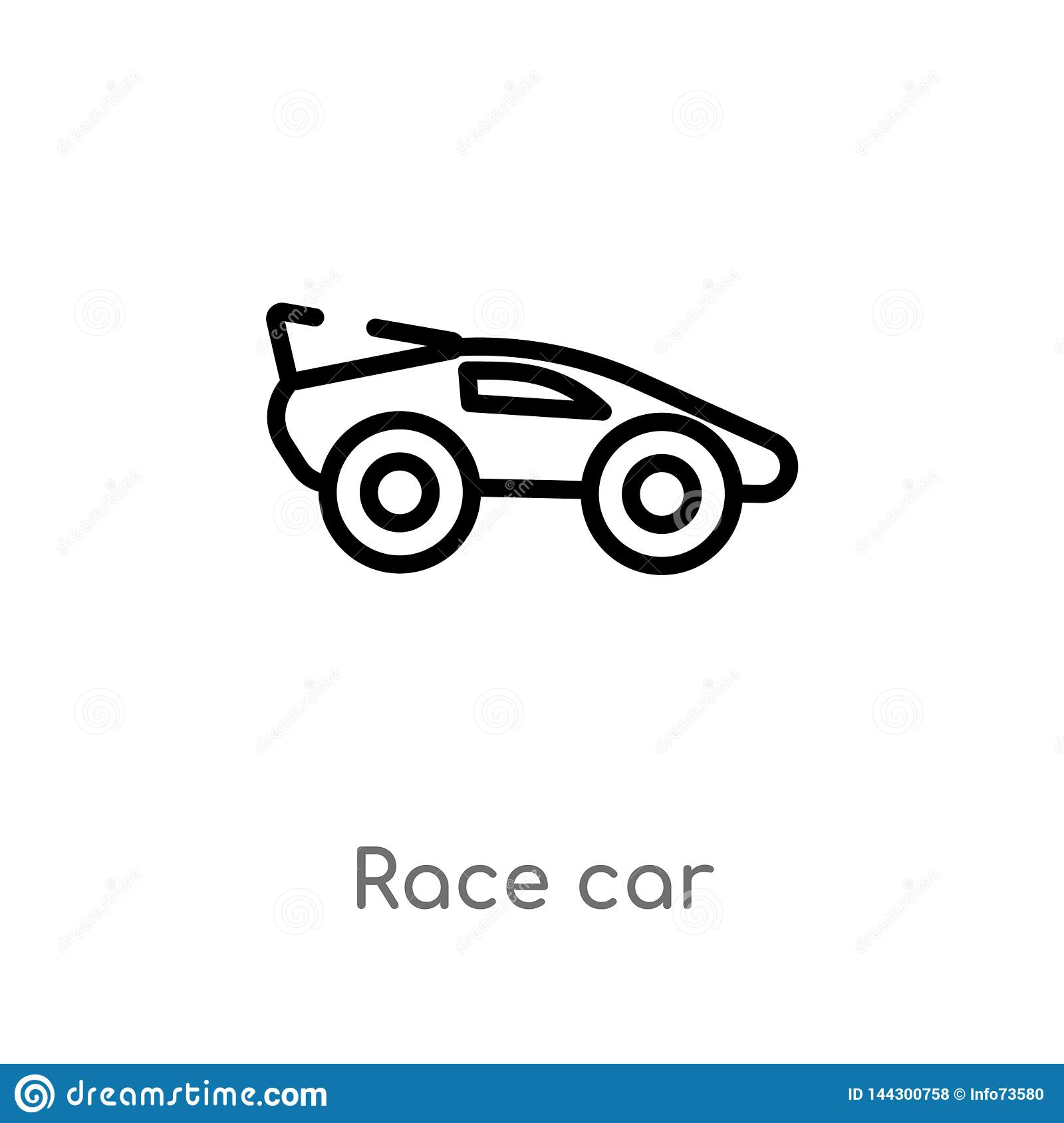 Outline Race Car Vector Icon  Isolated Black Simple Line