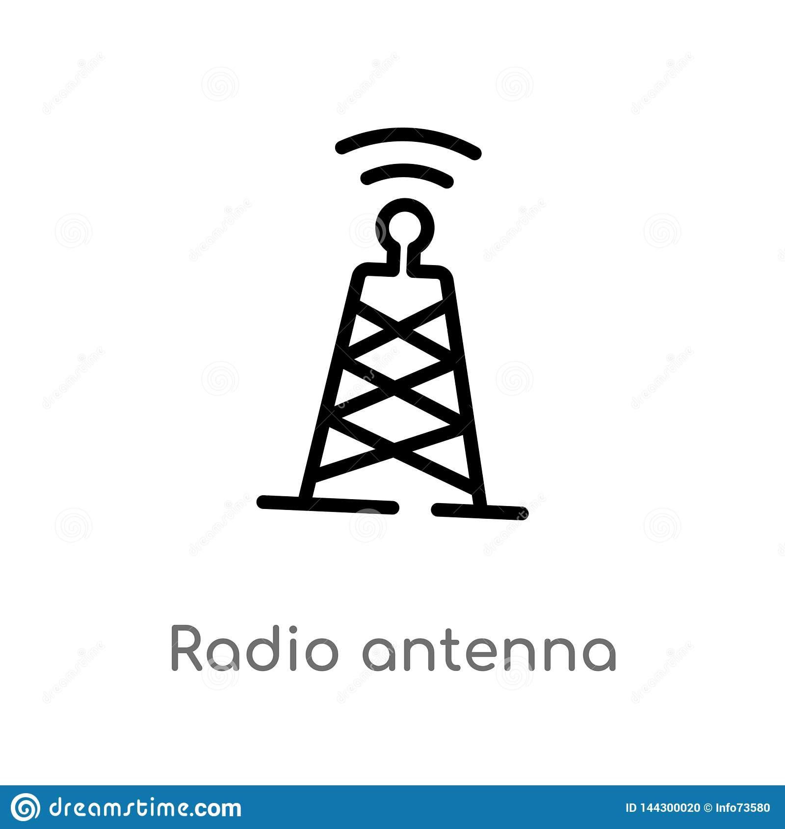 outline radio antenna vector icon. isolated black simple line element illustration from communication concept. editable vector