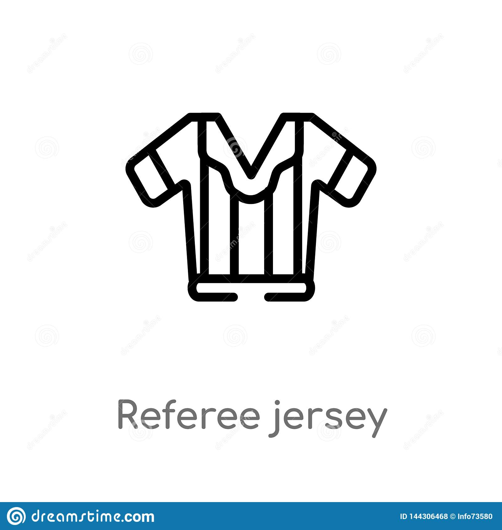 Outline Referee Jersey Vector Icon  Isolated Black Simple