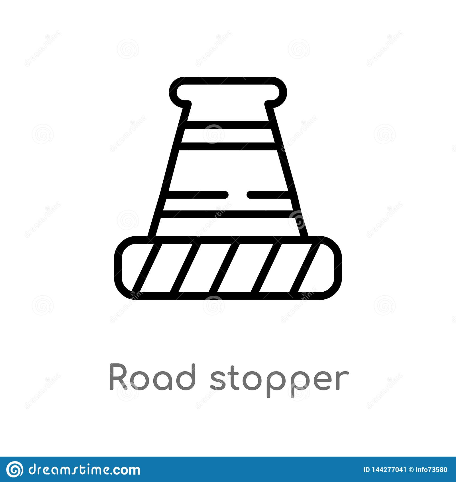 outline road stopper vector icon. isolated black simple line element illustration from construction concept. editable vector