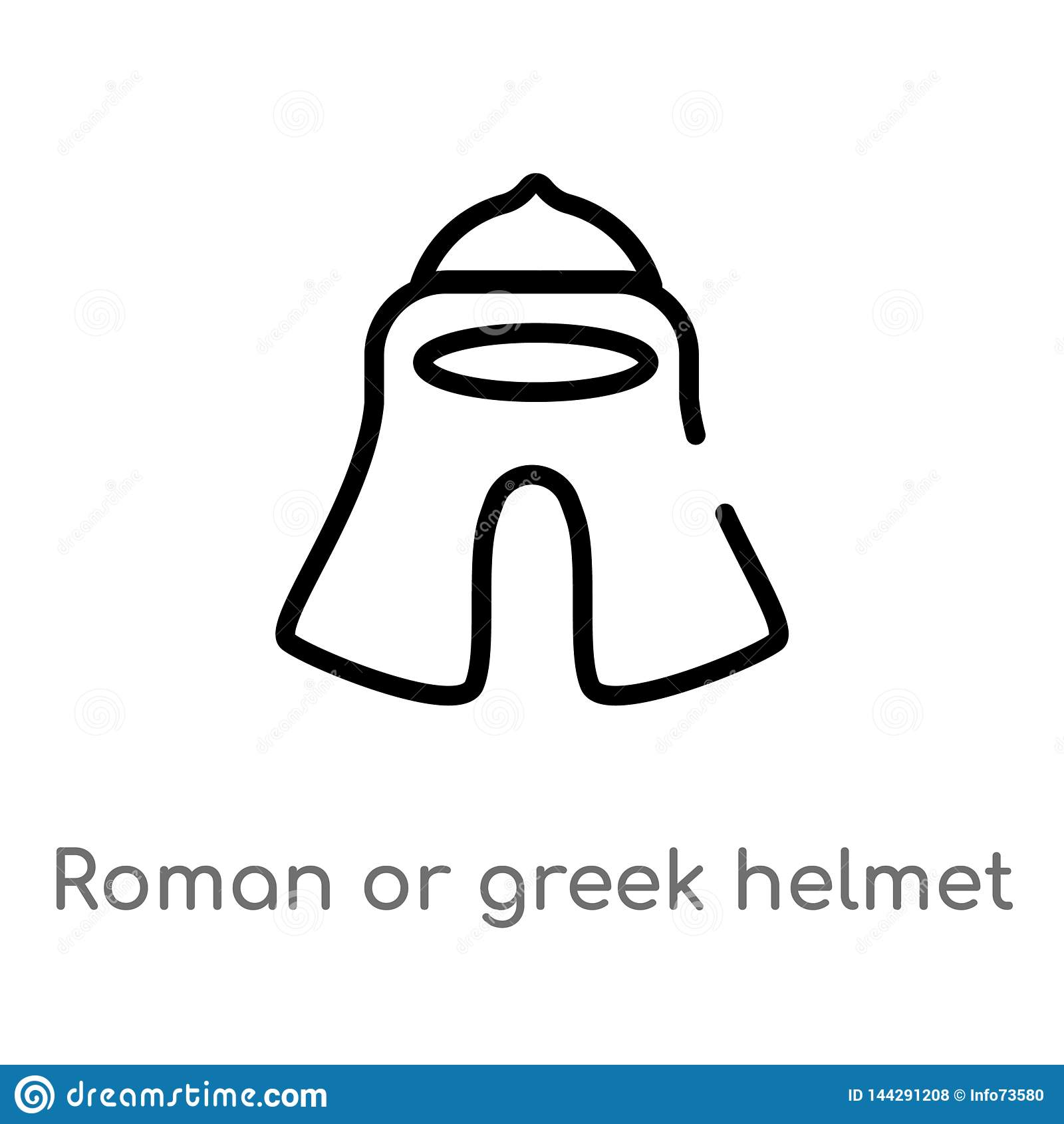 Outline Roman Or Greek Helmet Vector Icon  Isolated Black Simple