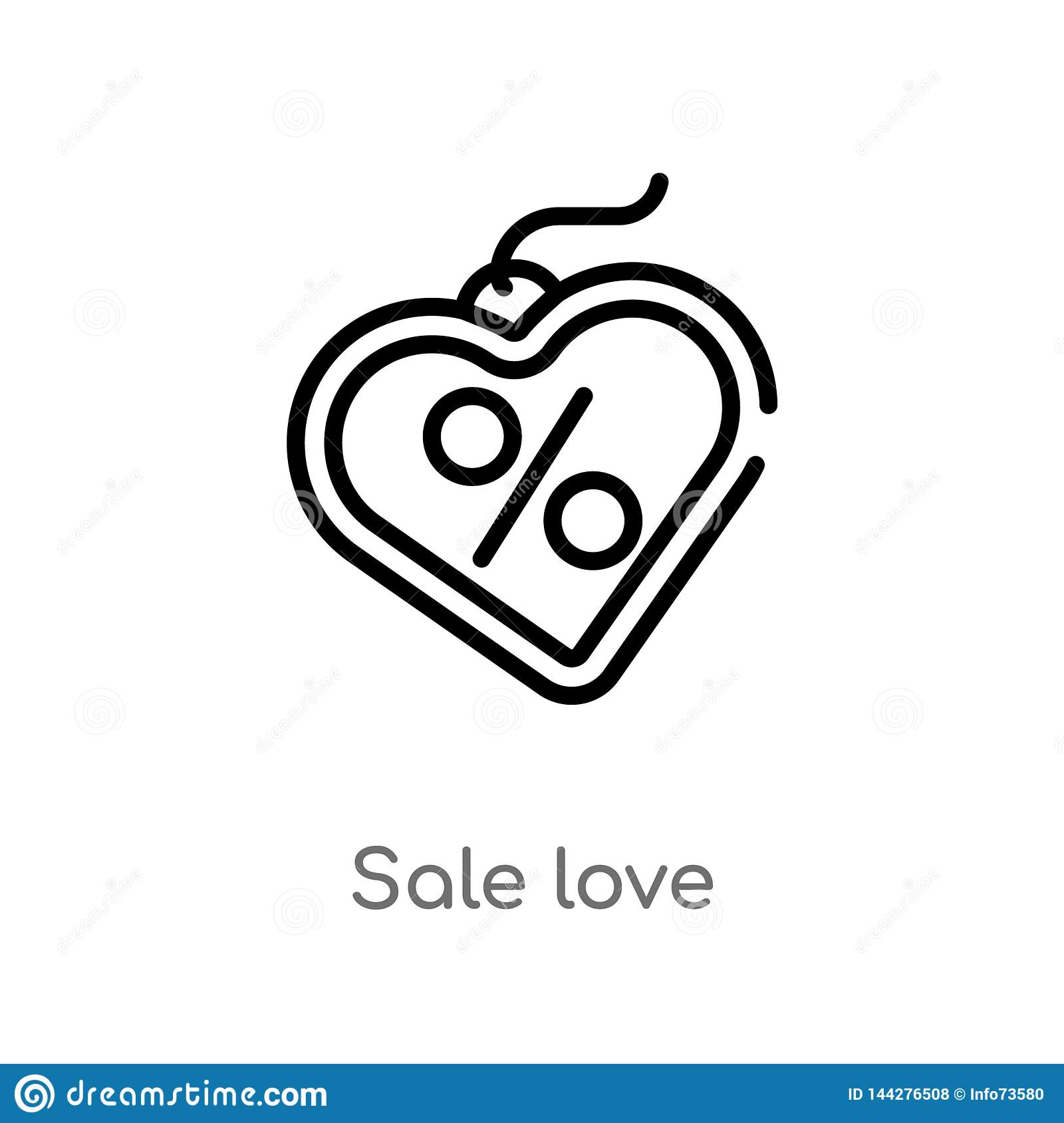 outline sale love vector icon. isolated black simple line element illustration from commerce concept. editable vector stroke sale