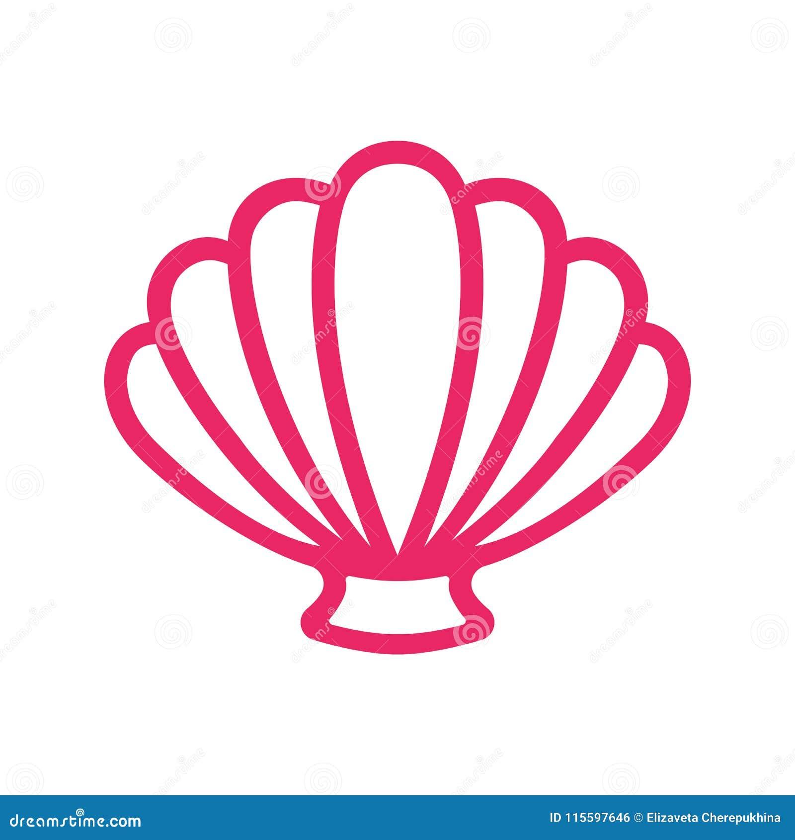 Outline Scallop Sea Shell . Clam. Conch. Seashell