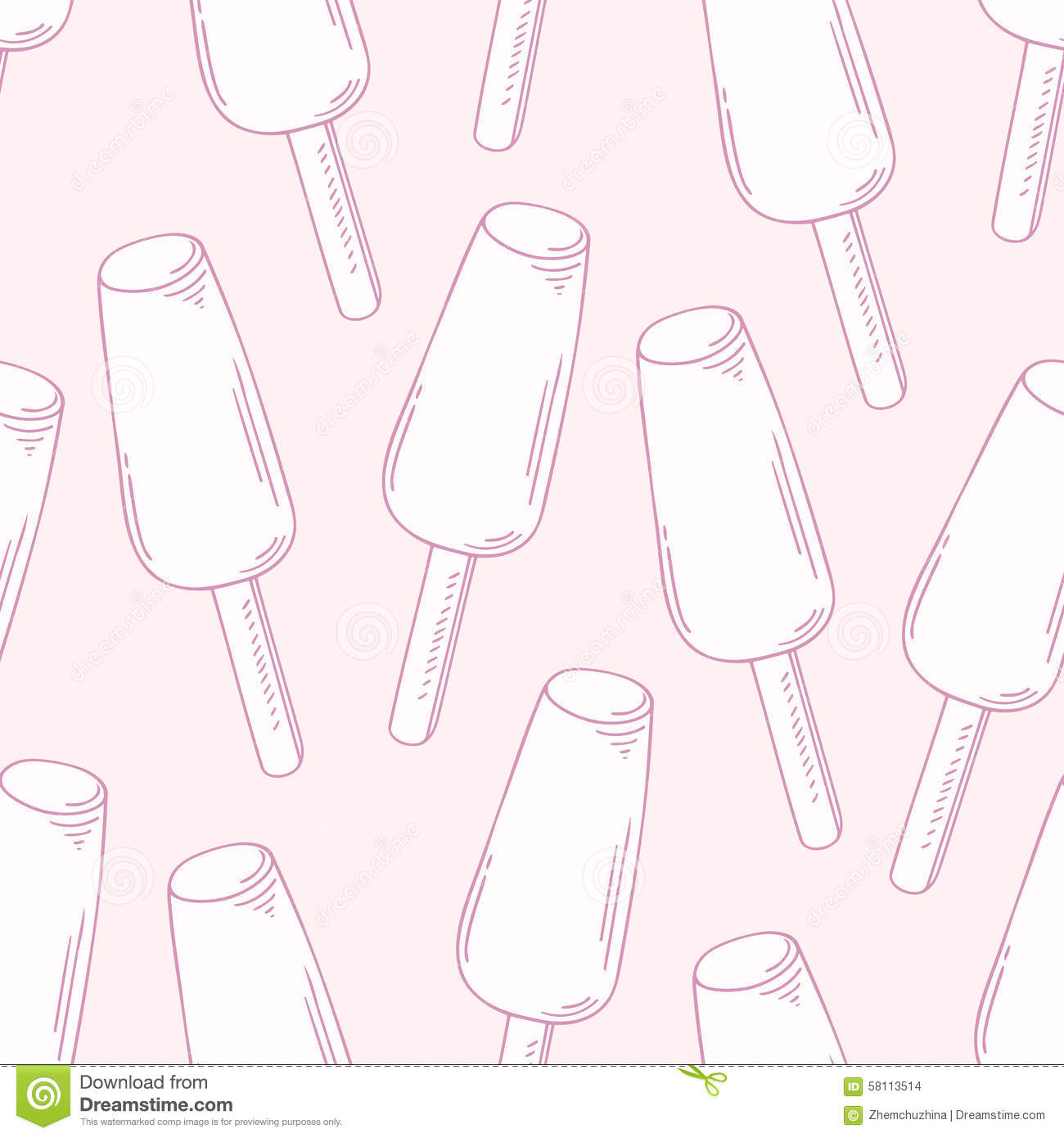 Seamless Pattern With Hand Drawn Watercolor Ice Cream: Outline Seamless Pattern With Hand Drawn Fruity Ice Cream