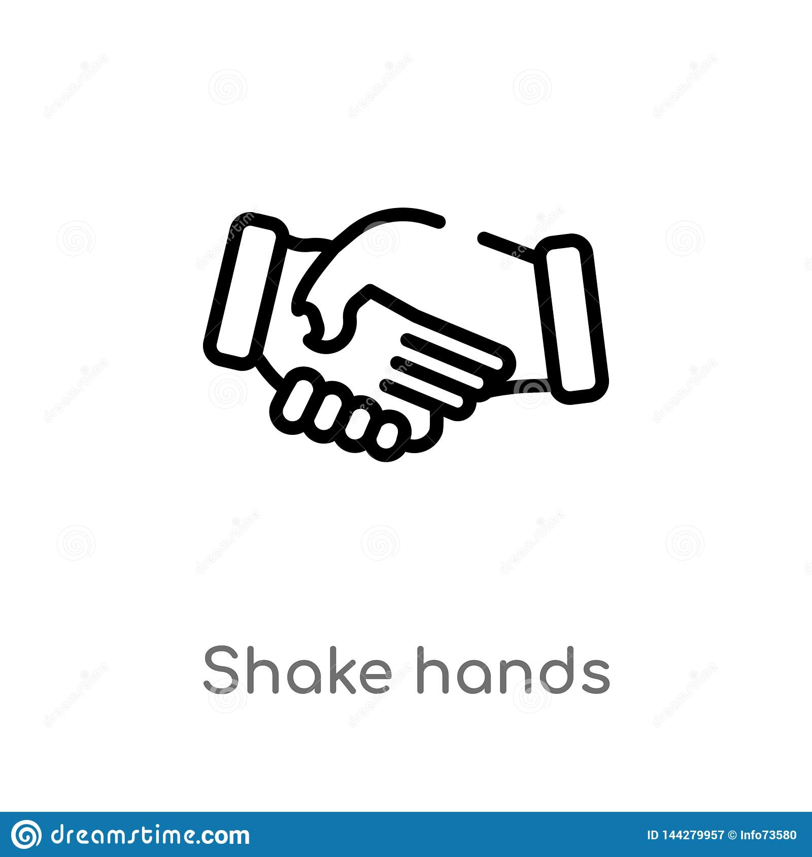 outline shake hands vector icon. isolated black simple line element illustration from education concept. editable vector stroke