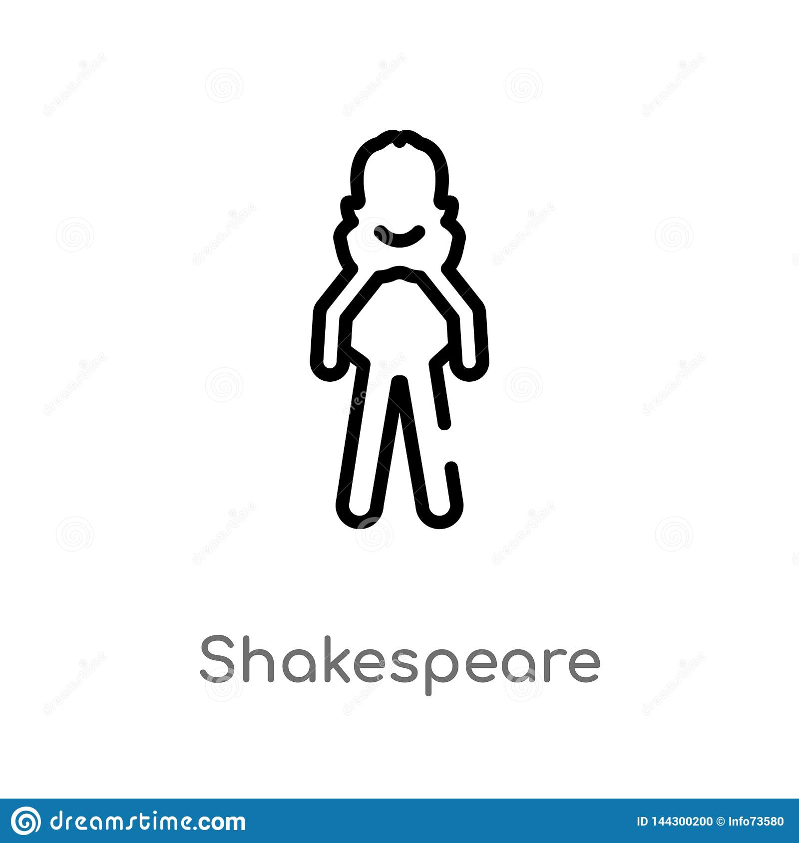 outline shakespeare vector icon. isolated black simple line element illustration from literature concept. editable vector stroke