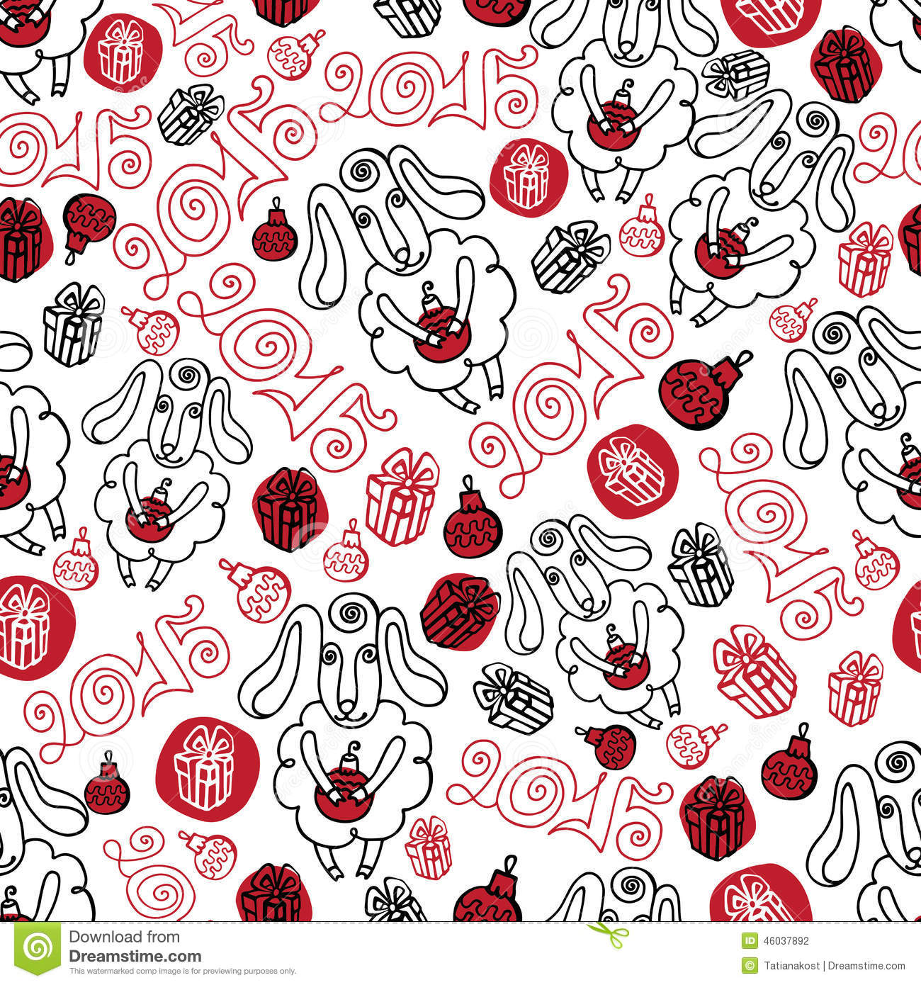 Outline sheep christmas decor seamless pattern stock for Fabric mural designs