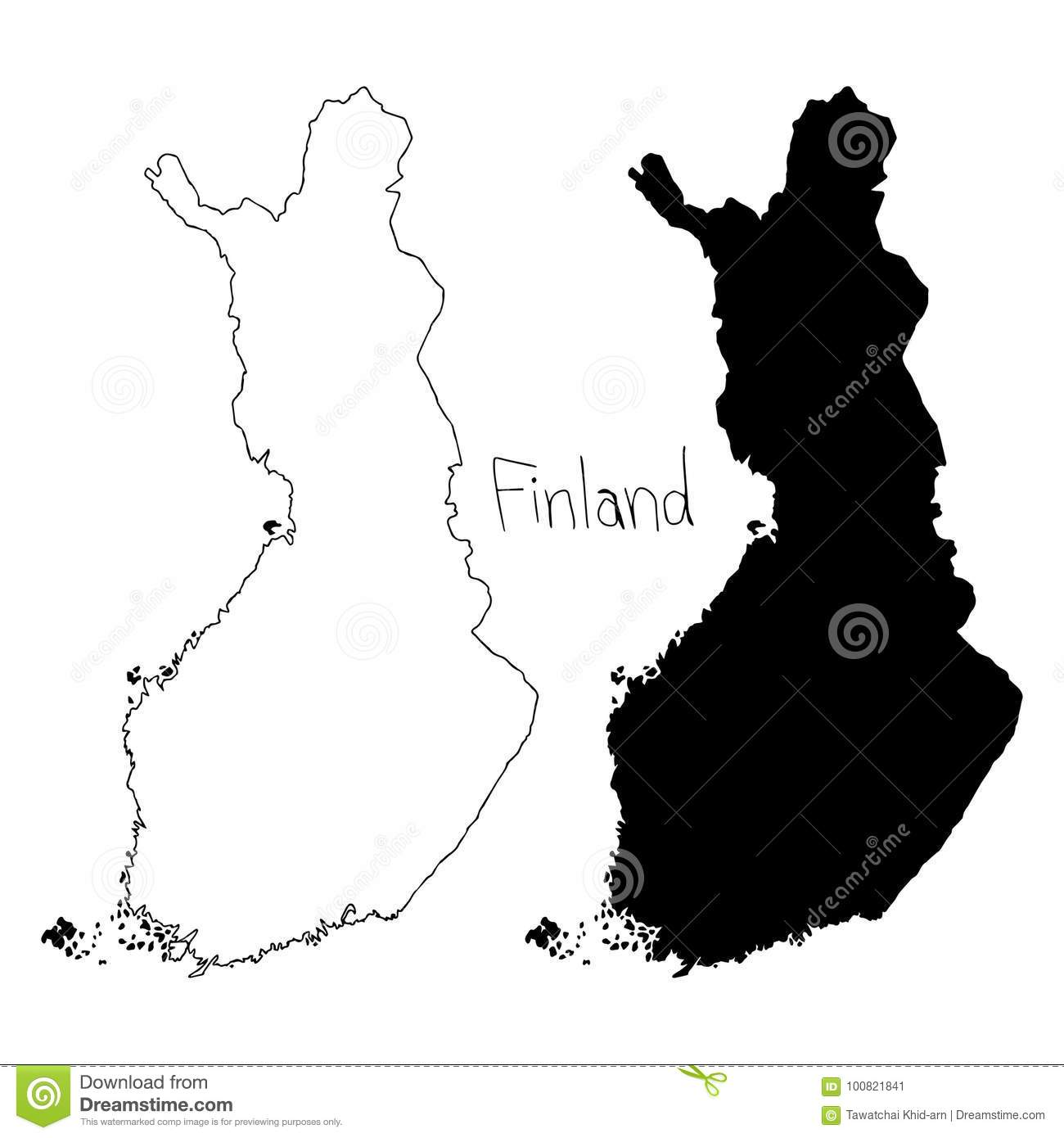 Outline And Silhouette Map Of Finland - Vector Illustration ...