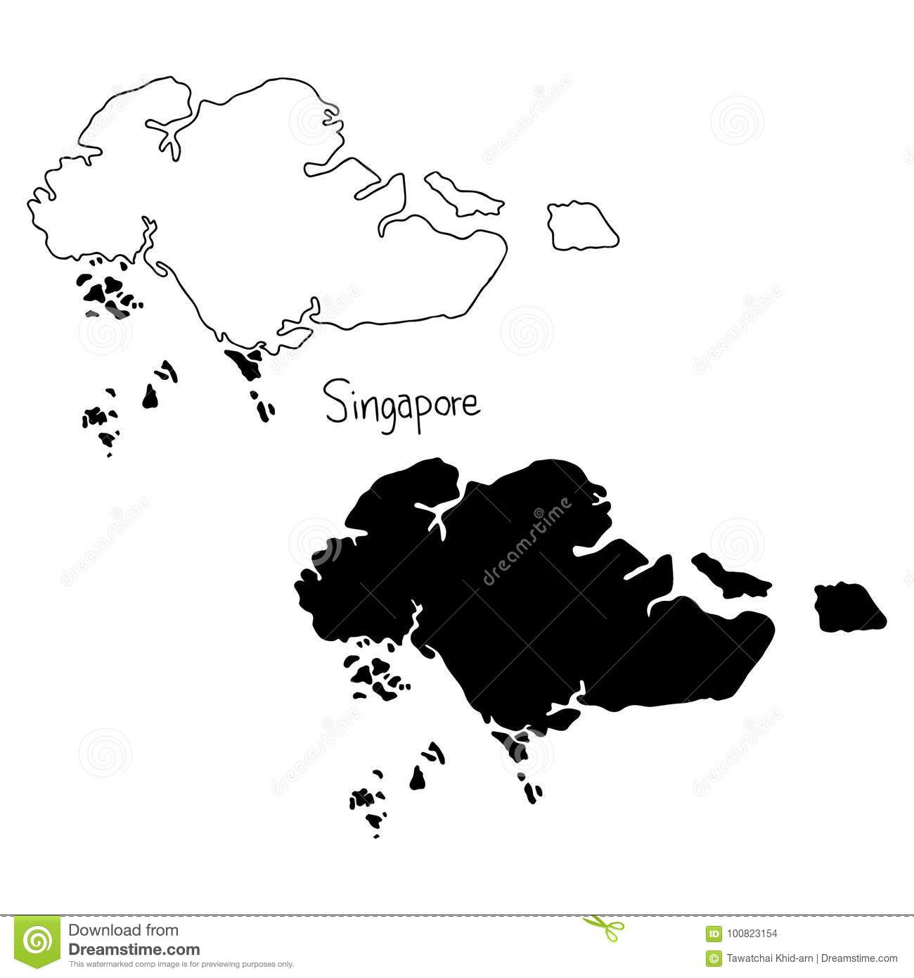 Outline And Silhouette Map Of Singapore - Vector Illustration Ha ...