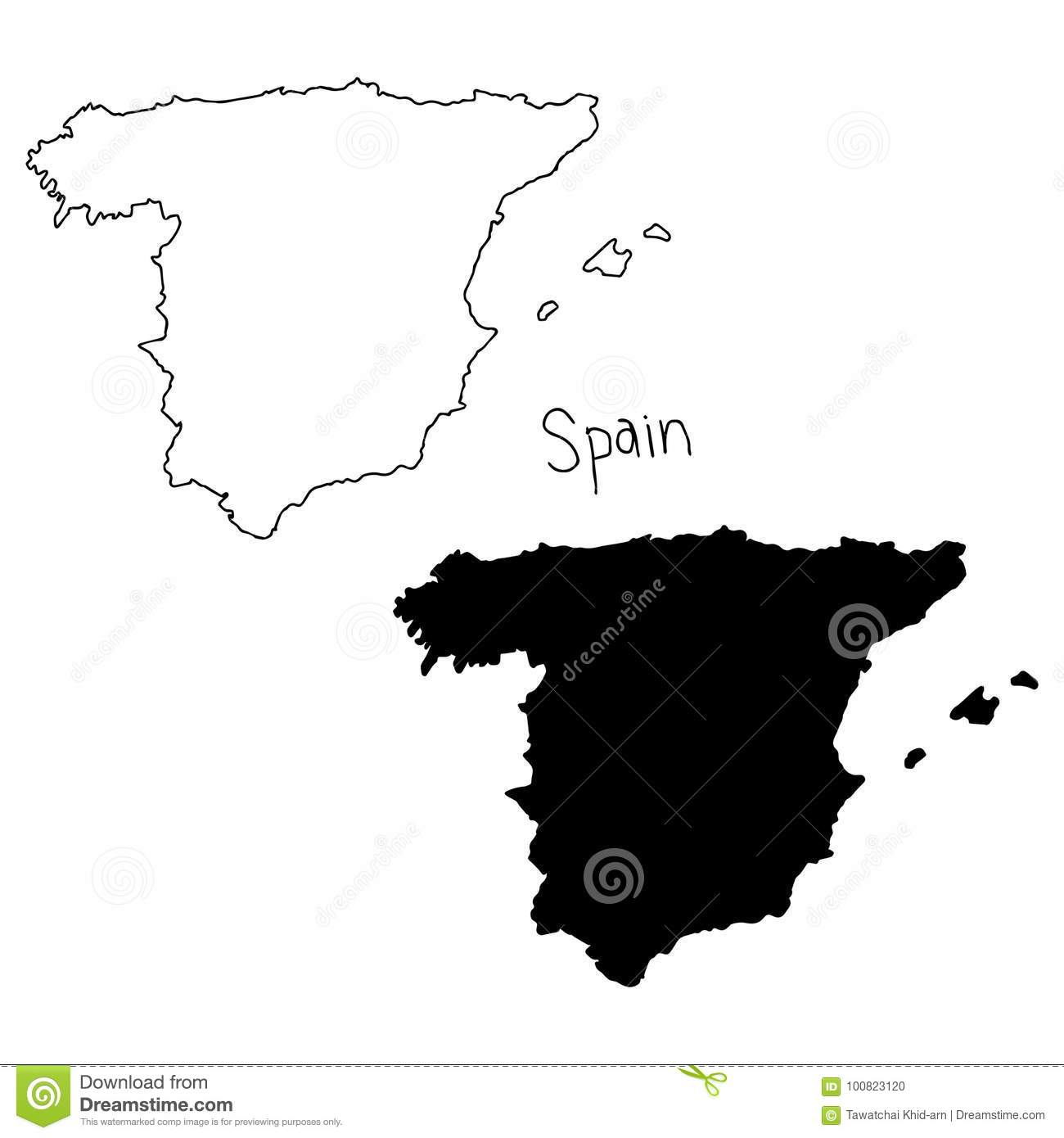 Map Of Spain Drawing.Outline And Silhouette Map Of Spain Vector Illustration Hand D