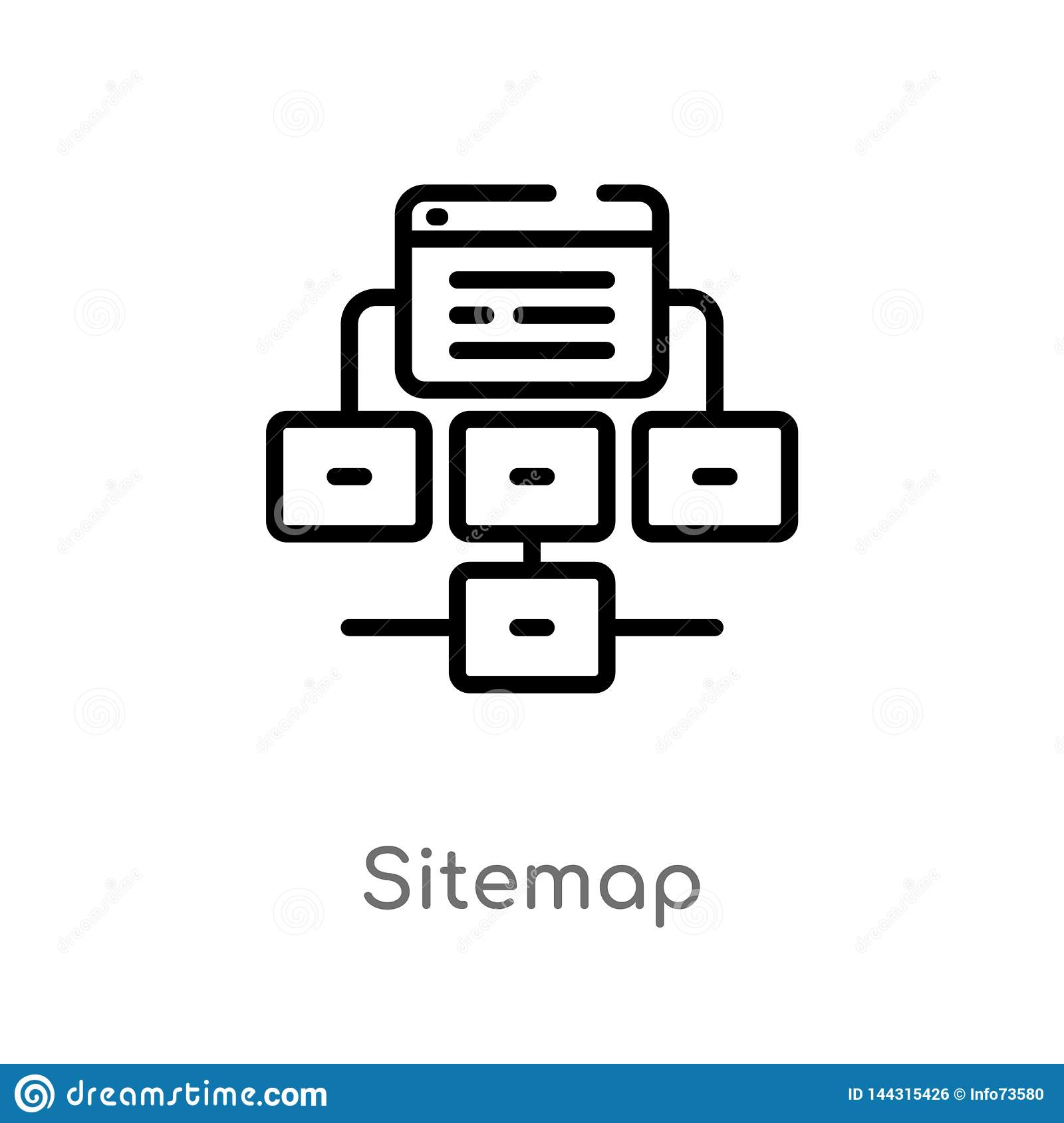 outline sitemap vector icon. isolated black simple line element illustration from seo & web concept. editable vector stroke