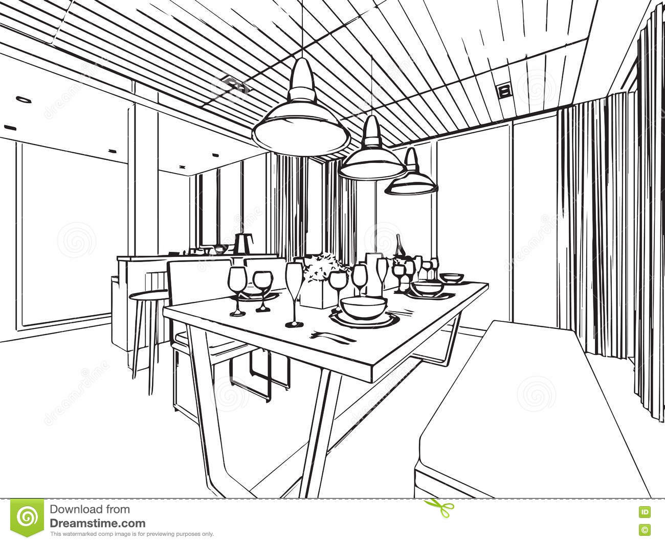 Outline Sketch Drawing Interior Perspective Of House Stock Vector - Illustration of wire
