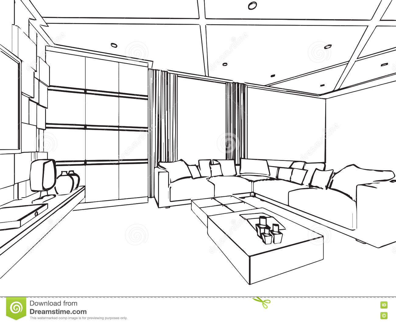 Outline sketch drawing interior perspective of house stock for Dessin architecture interieur