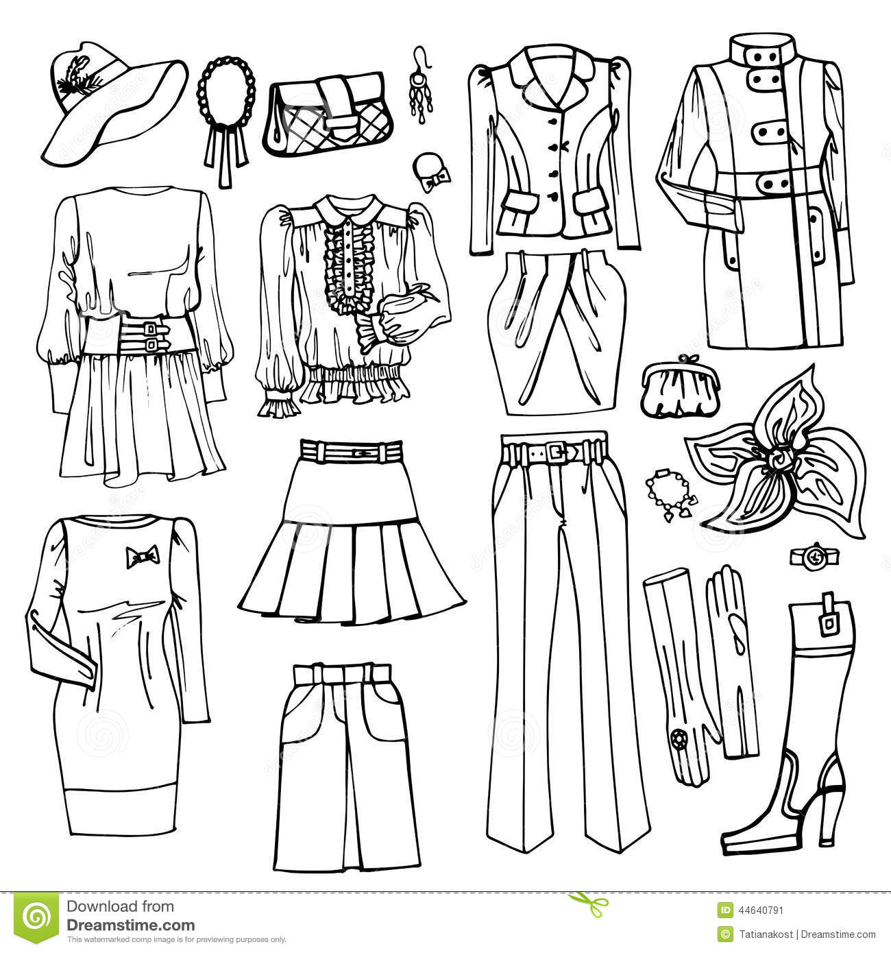Outline Sketch.Females Clothing And Accessories Stock Vector ...
