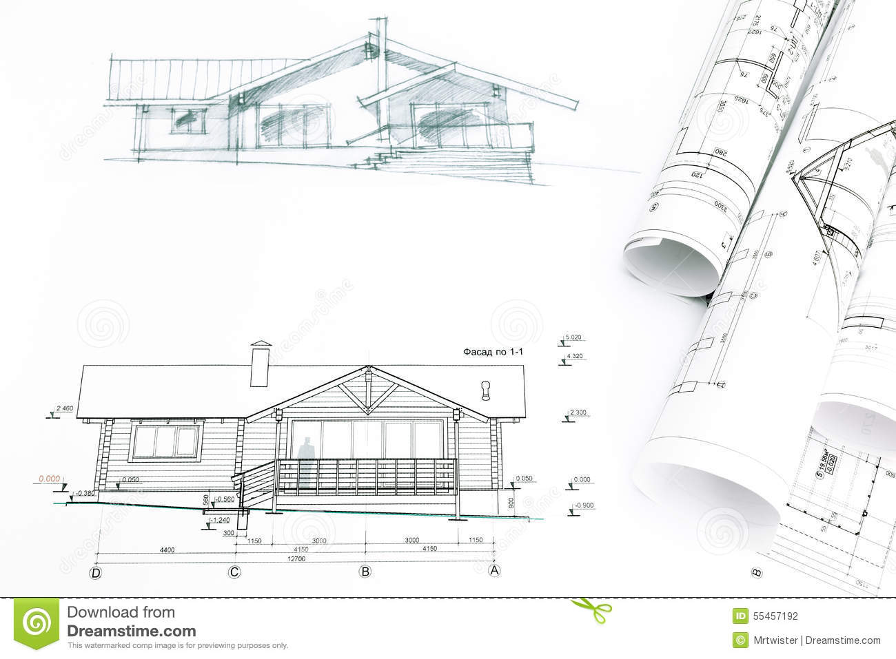 outline sketch of house with blueprints stock photo image 55457192 royalty free stock photo
