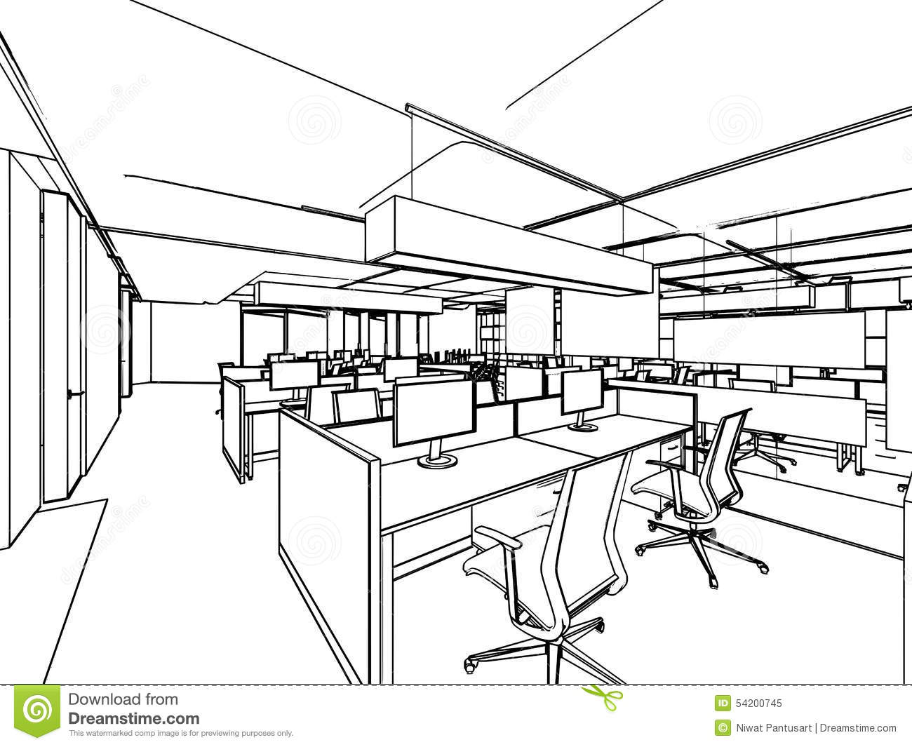 Outline sketch of a interior stock illustration image for Office design drawing samples