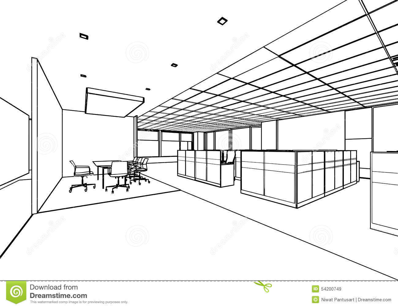 House Perspective With Floor Plan Outline Sketch Of A Interior Stock Illustration Image