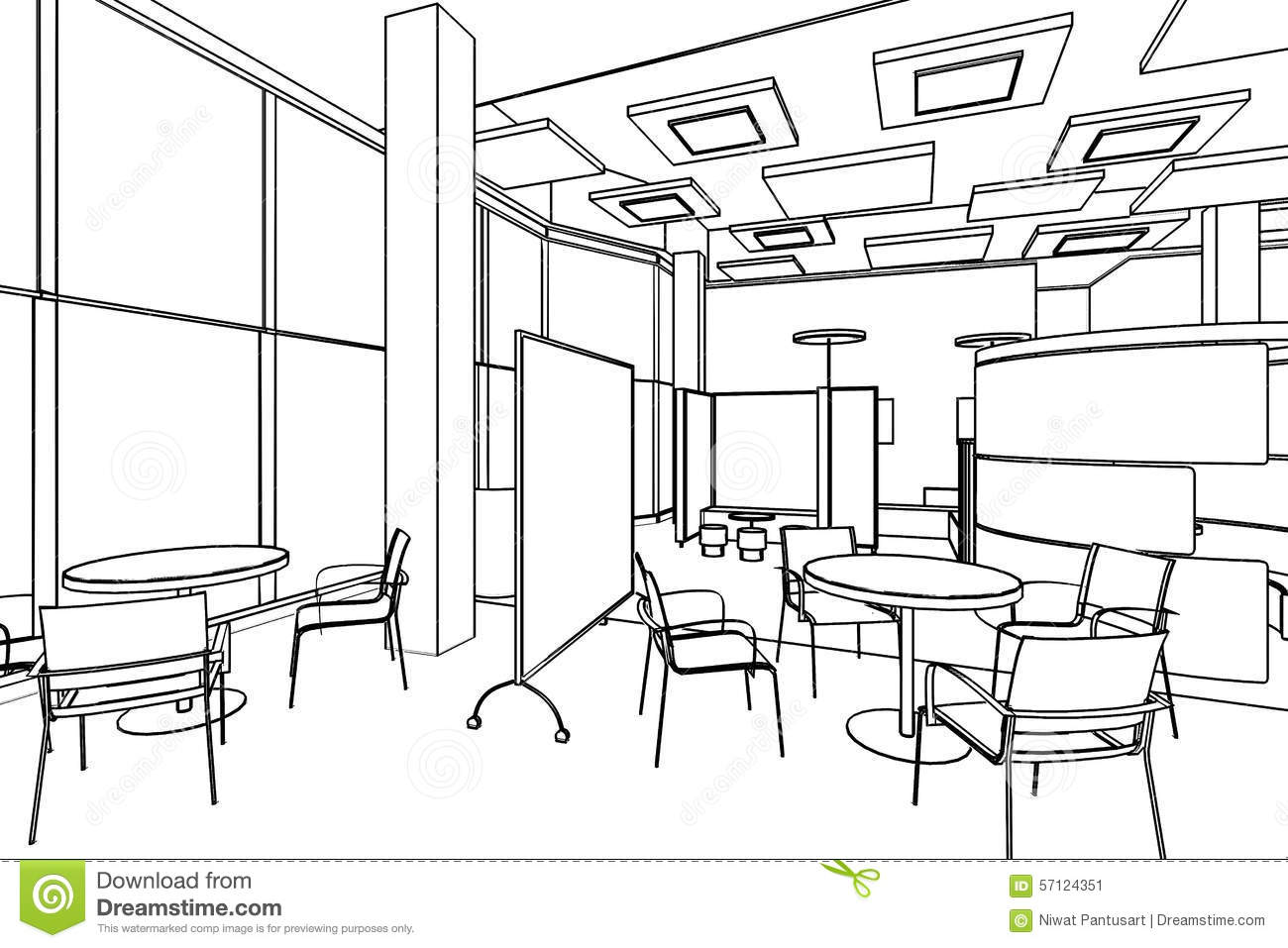 1300x957 Outline Sketch Drawing Perspective Of A Interior Space Office.  Picture #85A625 This Yearu0027s