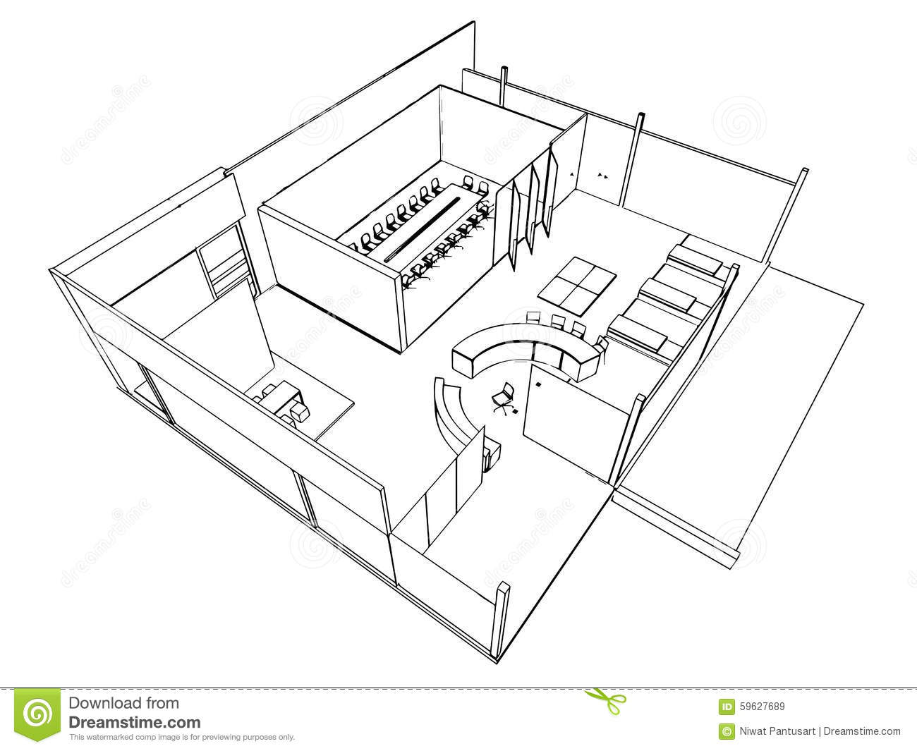 Outline Sketch Of A Interior Stock Vector - Image: 59627689
