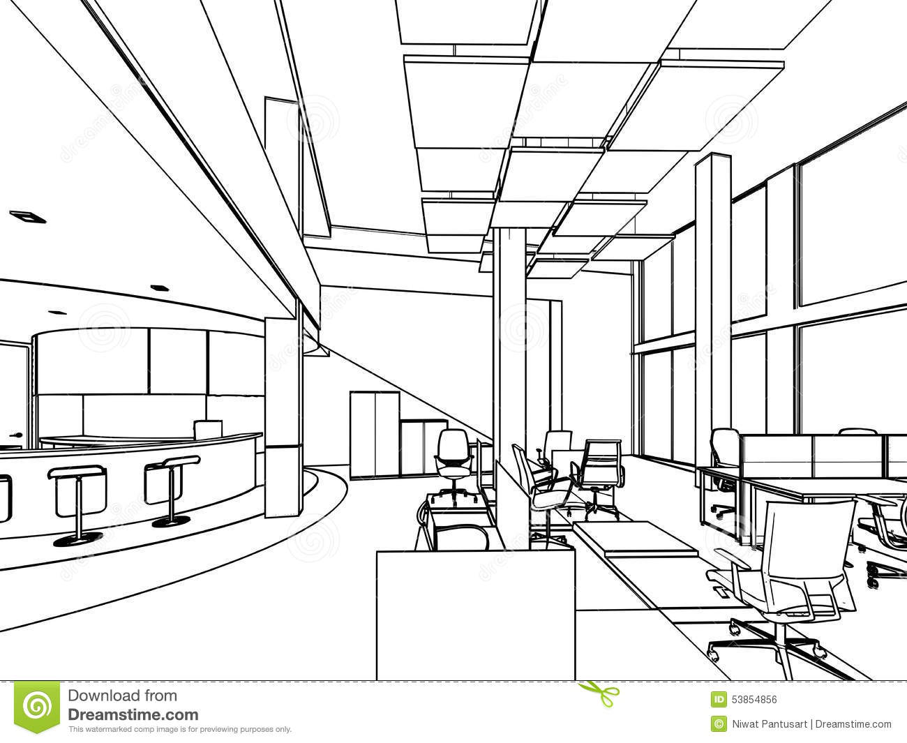 Drawing Lines In Office : Outline sketch of a interior stock illustration