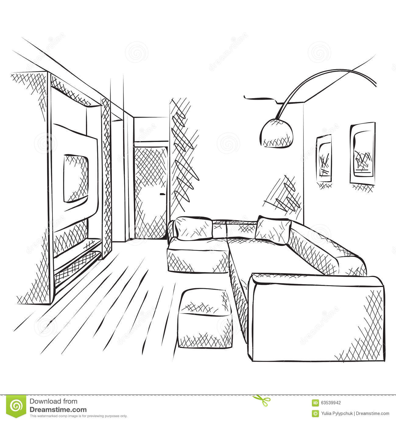 Outline Sketch Of A Interior. Stock Vector