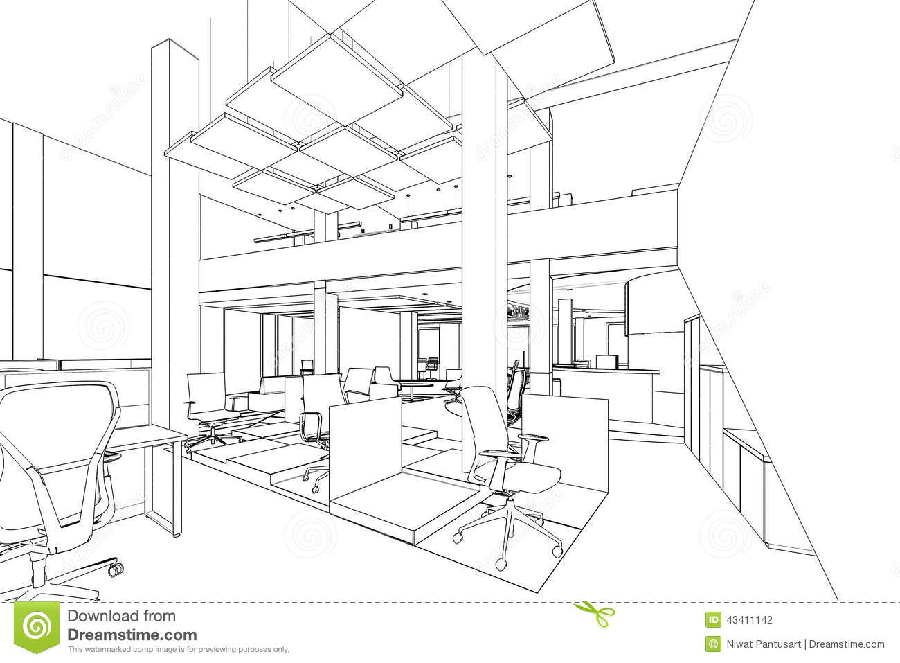 Outline sketch of a interior office area stock for Office design drawing samples