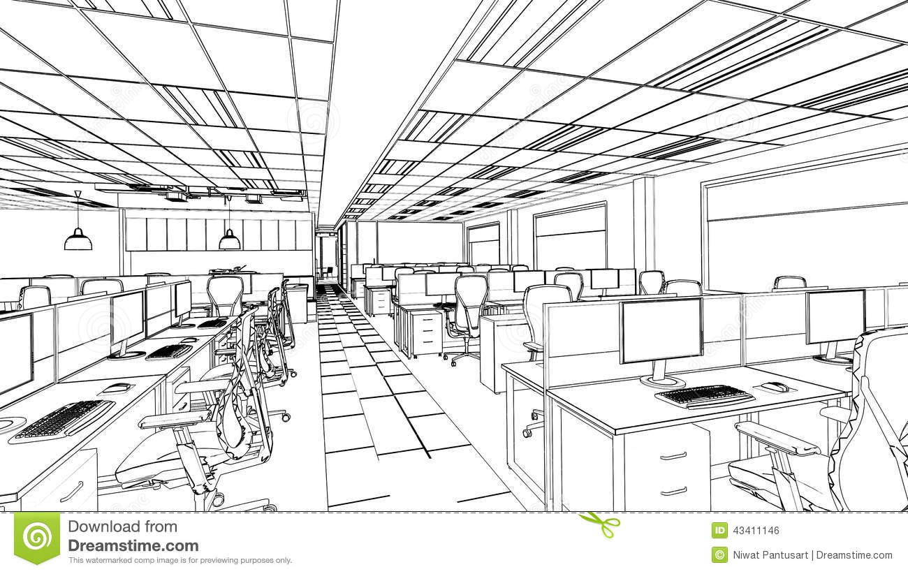 Drawing Lines In Office : Outline sketch of a interior office area stock