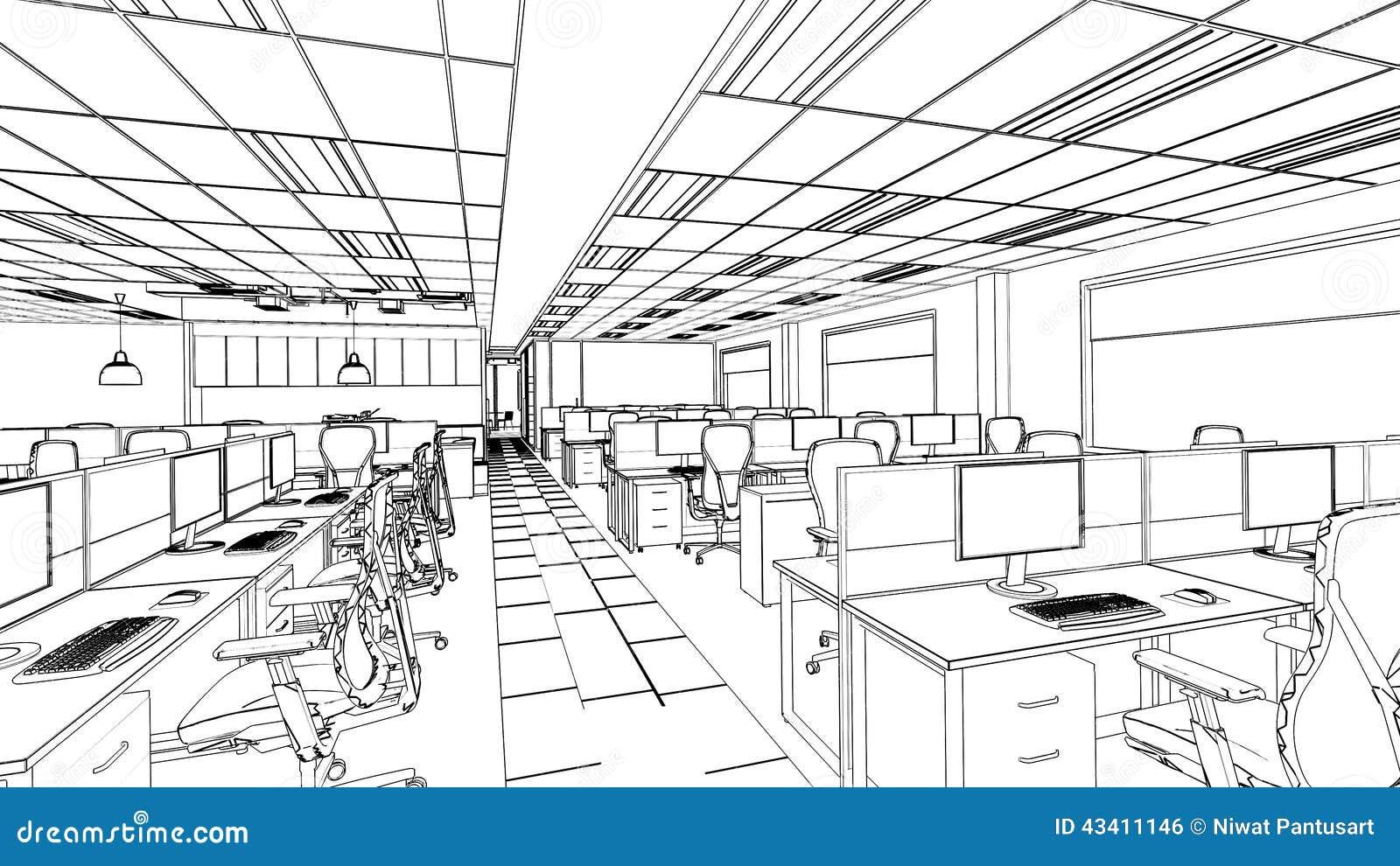 Home Designer Interiors Review Outline Sketch Of A Interior Office Area Stock