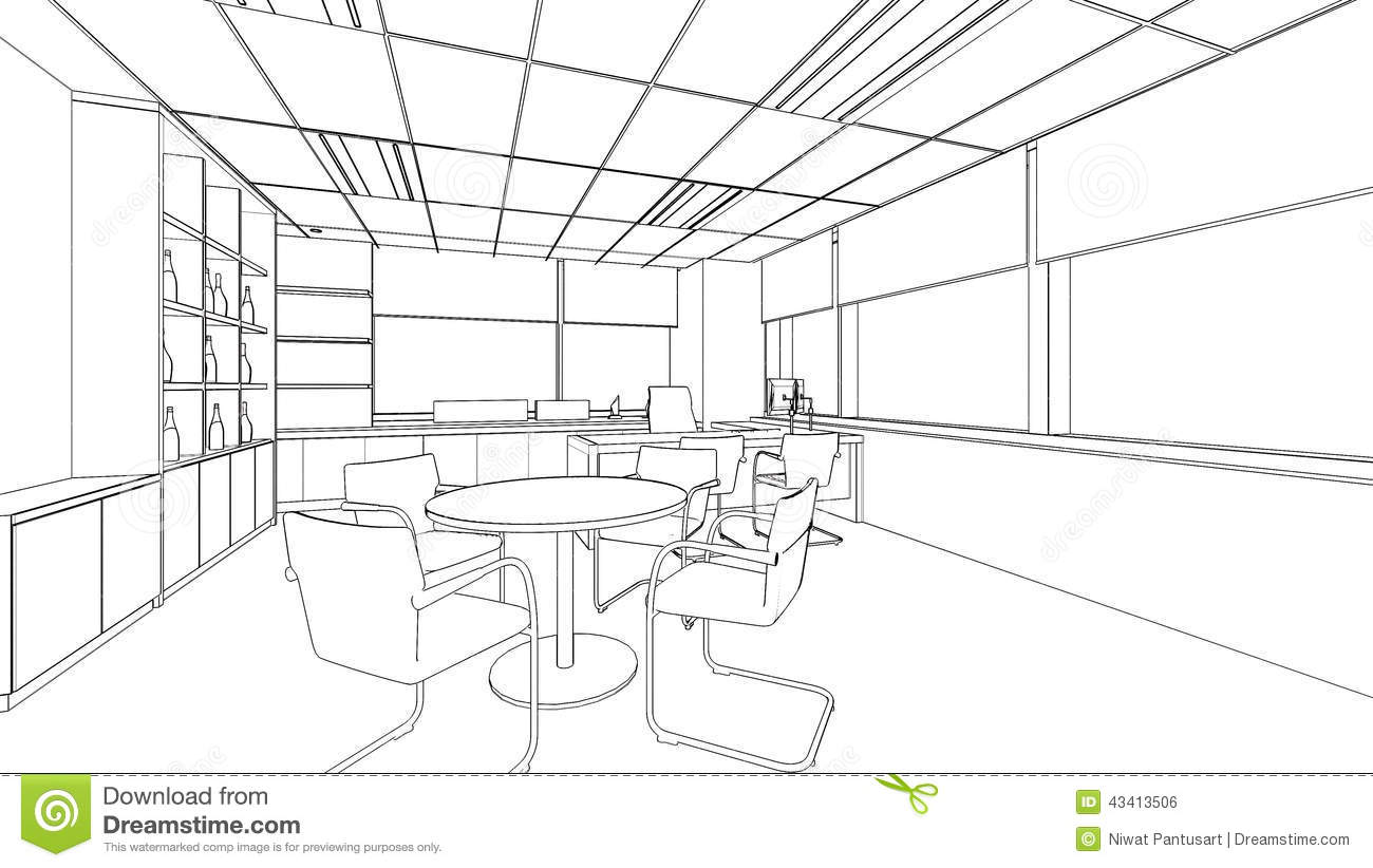 Drawing Lines In Office : Outline sketch of a interior office stock illustration