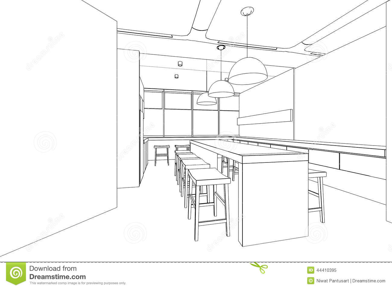 Outline Sketch Of A Interior Pantry Area Stock