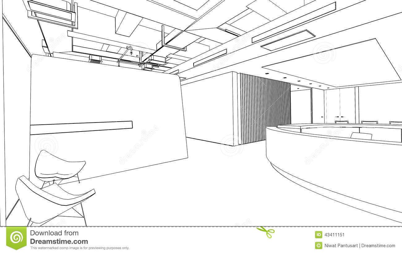 outline sketch of a interior reception area stock