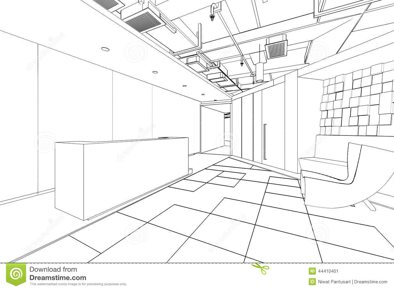 Outline sketch of a interior reception area stock illustration illustration of ideas draft for Construction drawings and details for interiors