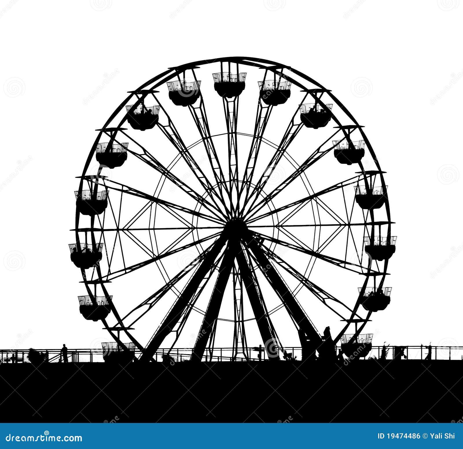 ferris wheel at a local fun fair seen in silhouette.