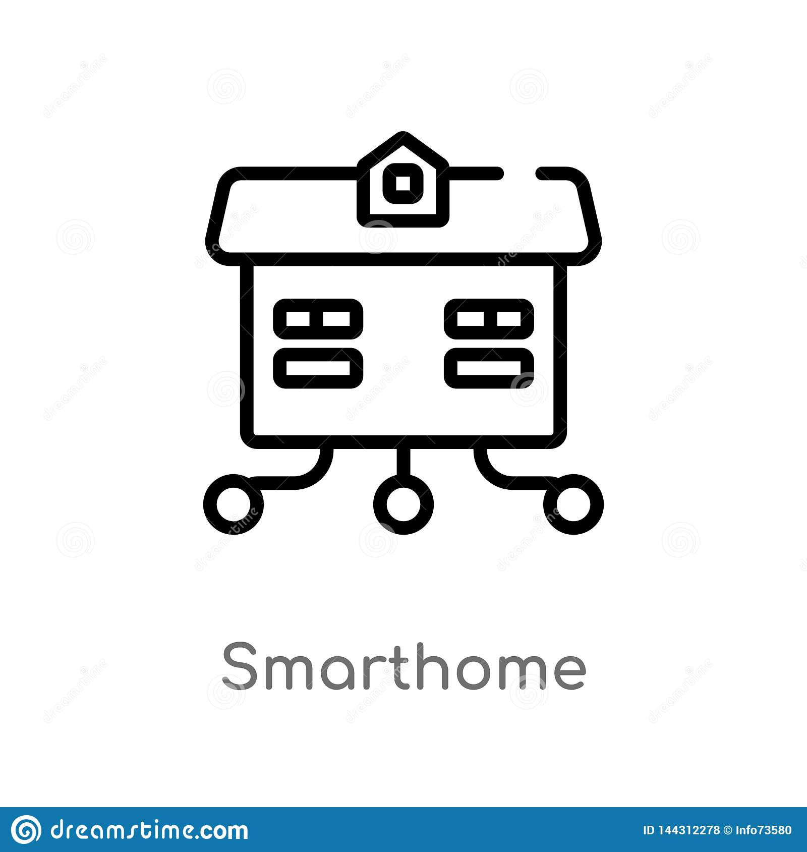 outline smarthome vector icon. isolated black simple line element illustration from other concept. editable vector stroke