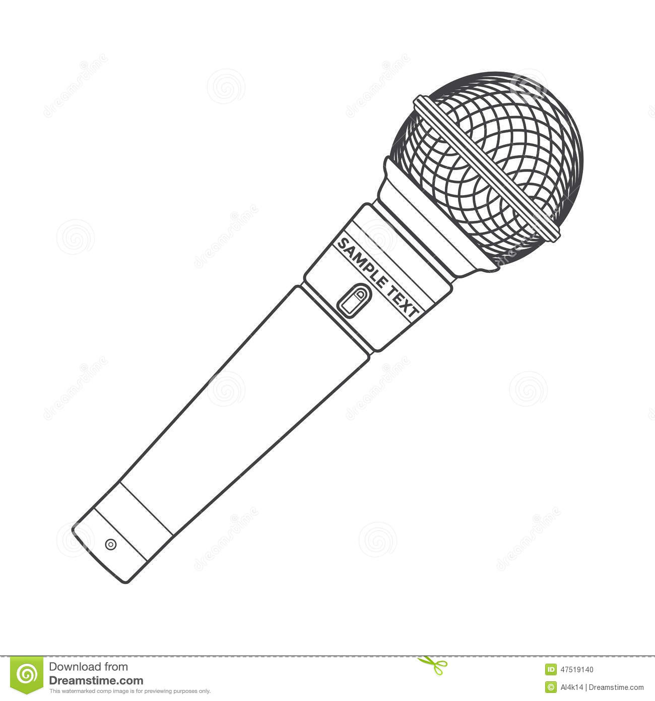 outline stage microphone stock vector