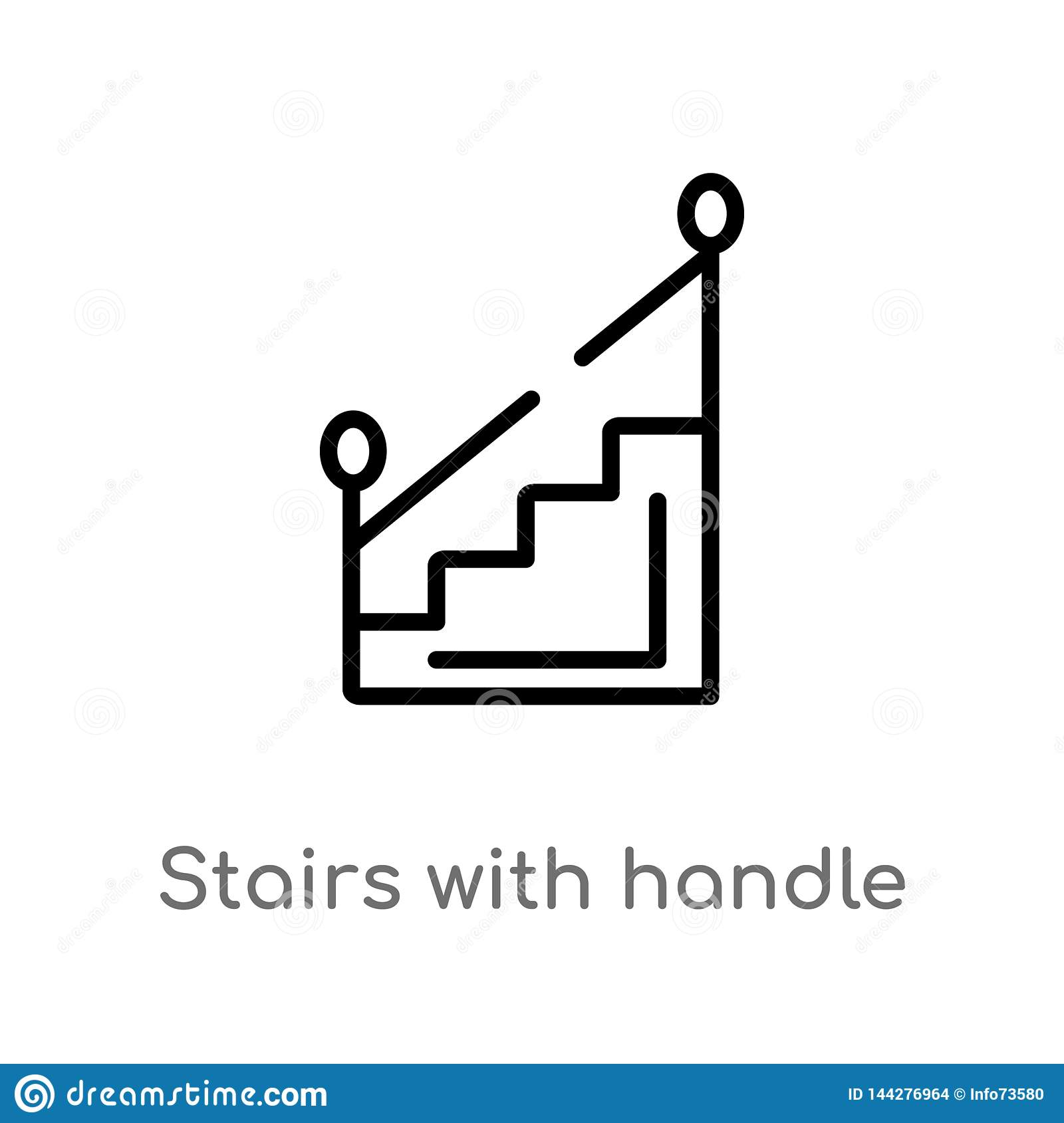 outline stairs with handle vector icon. isolated black simple line element illustration from construction concept. editable vector