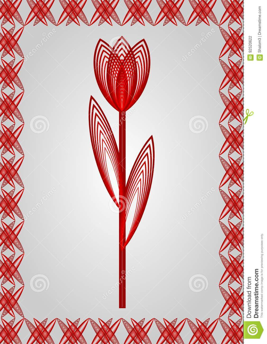 Drawing Lines With Gradients : Outline stylized red tulip in frame drawing on grey