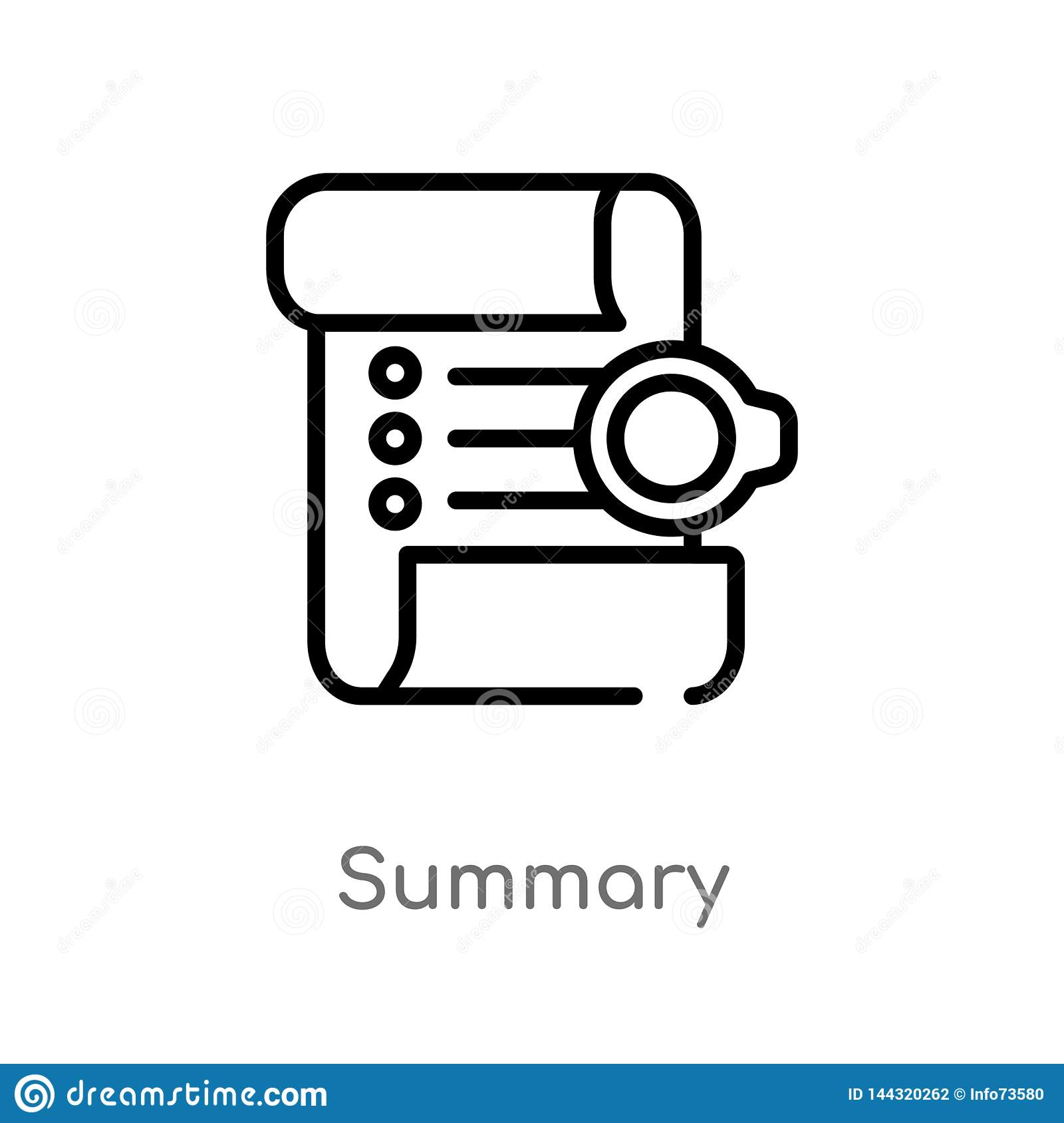 outline summary vector icon. isolated black simple line element illustration from technology concept. editable vector stroke