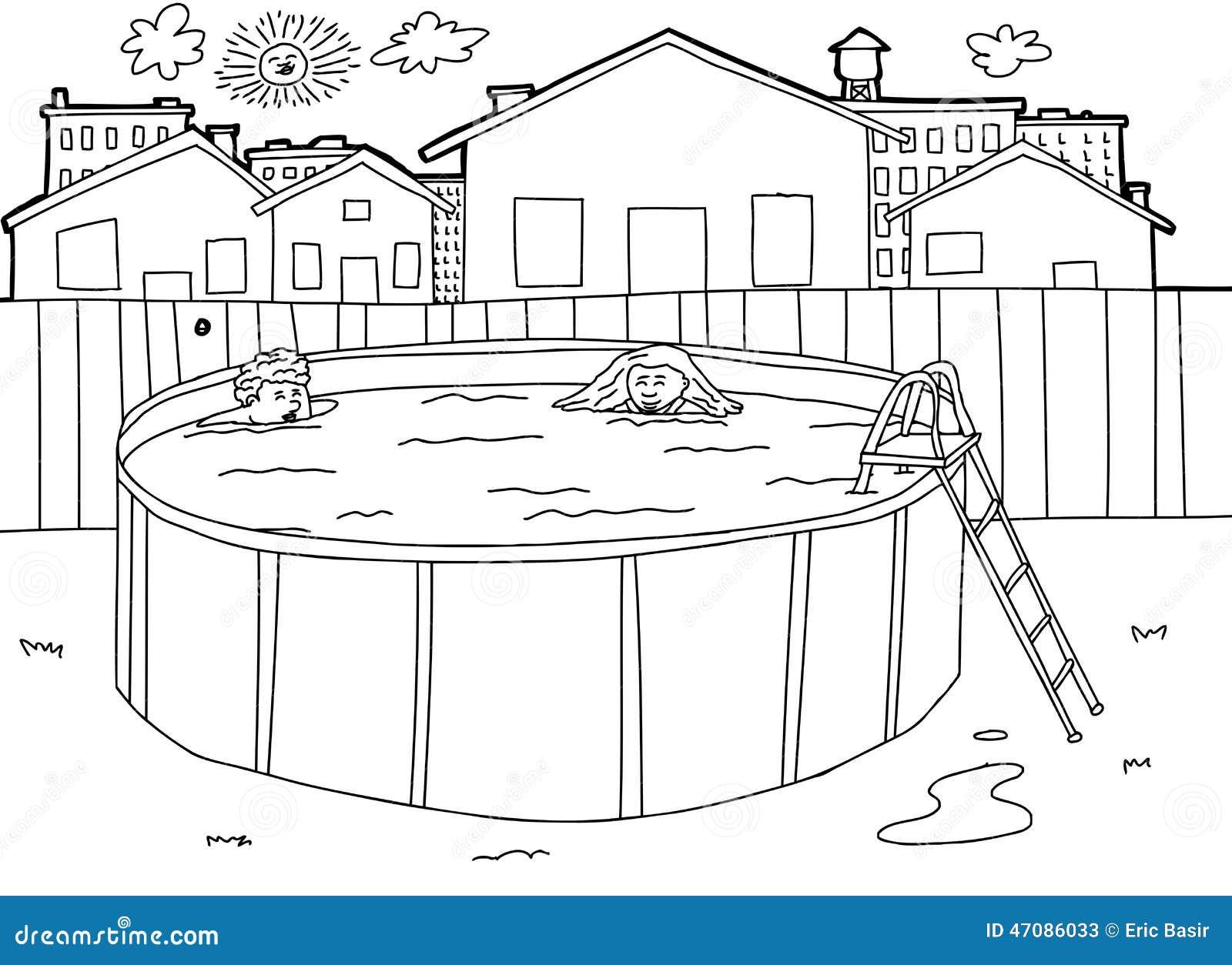 Outline Swimming Pool Scene Stock Vector Image 47086033