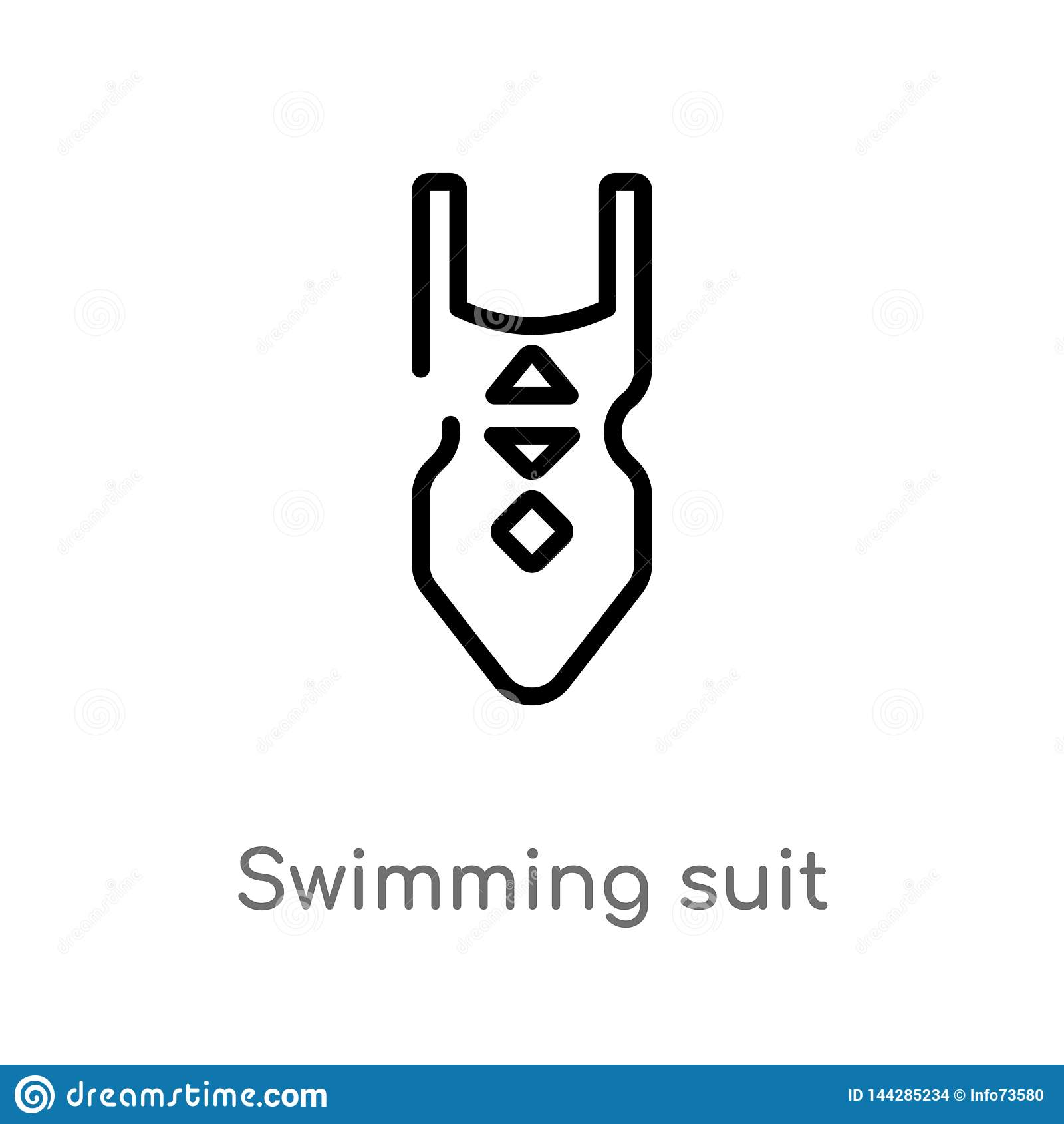 outline swimming suit vector icon. isolated black simple line element illustration from holidays concept. editable vector stroke