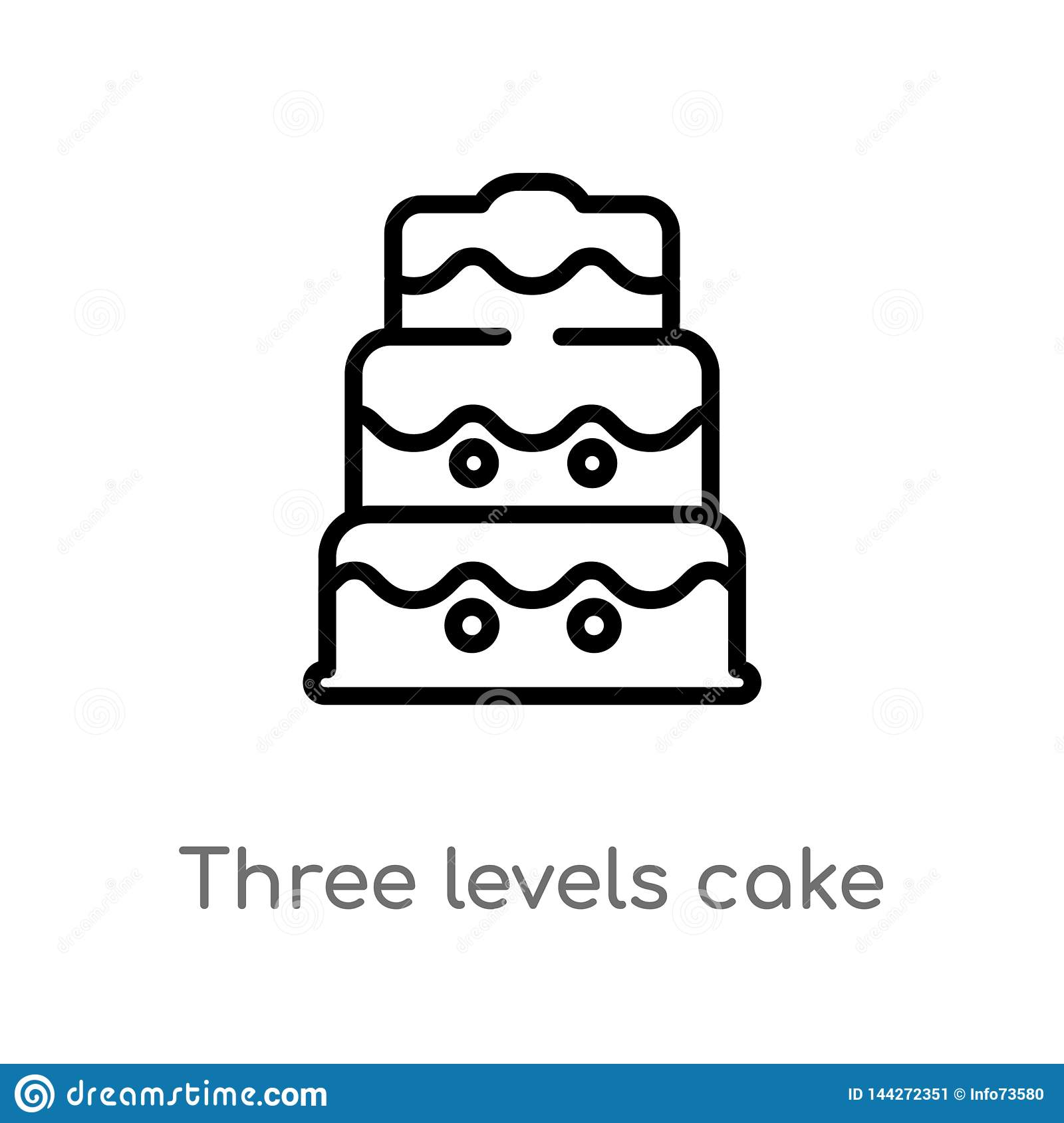 outline three levels cake vector icon. isolated black simple line element illustration from bistro and restaurant concept.