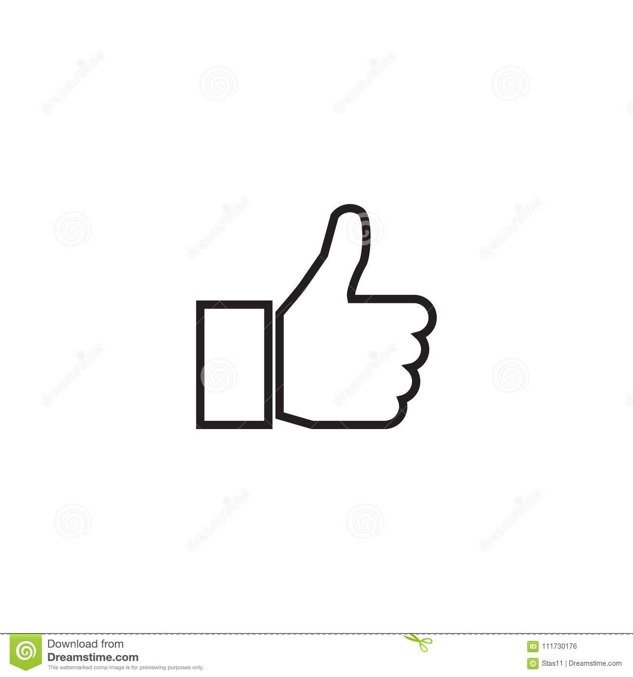 Outline Thumb up Icon isolated on grey background. Line Like symbol for web site design
