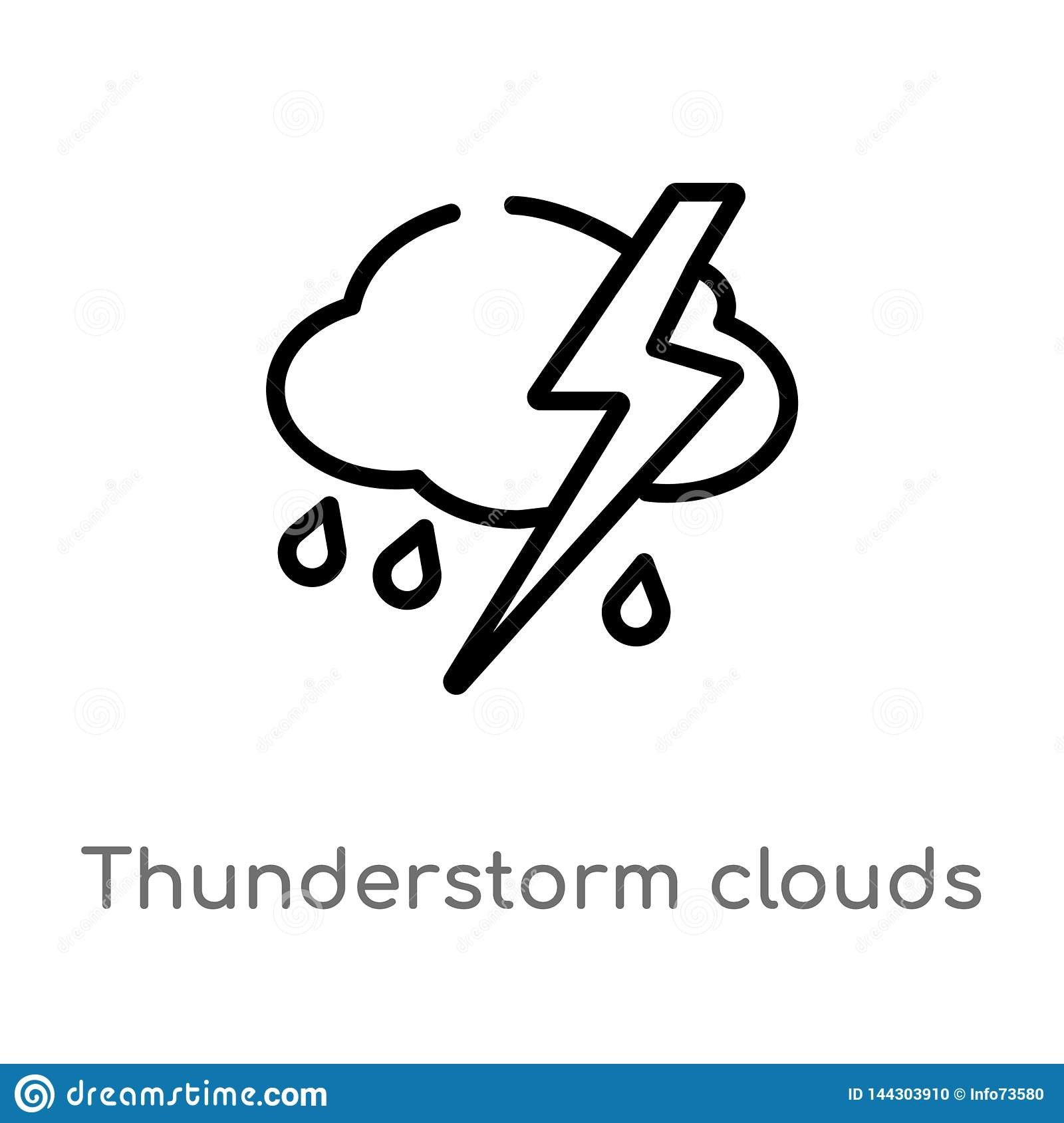 outline thunderstorm clouds vector icon. isolated black simple line element illustration from weather concept. editable vector