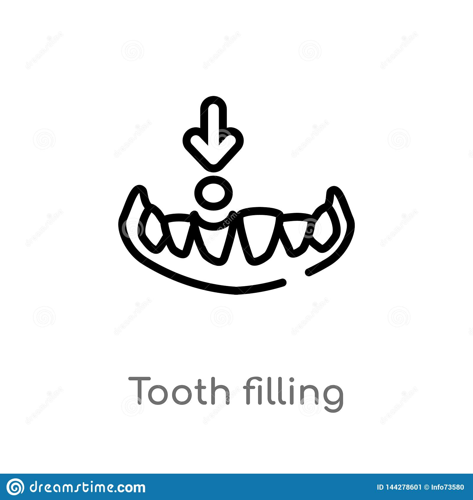 Outline Tooth Filling Vector Icon. Isolated Black Simple