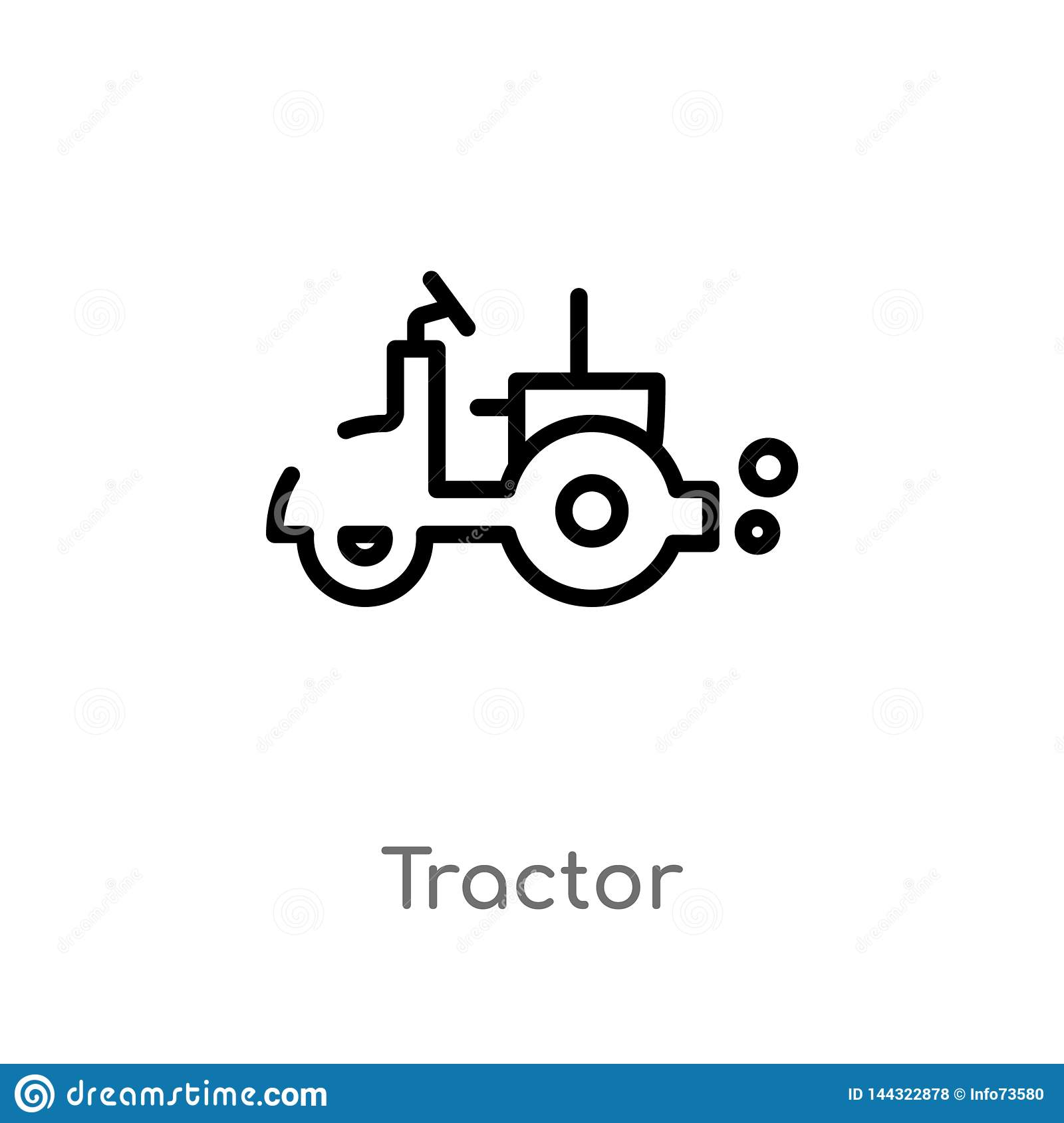 outline tractor vector icon. isolated black simple line element illustration from farming concept. editable vector stroke tractor
