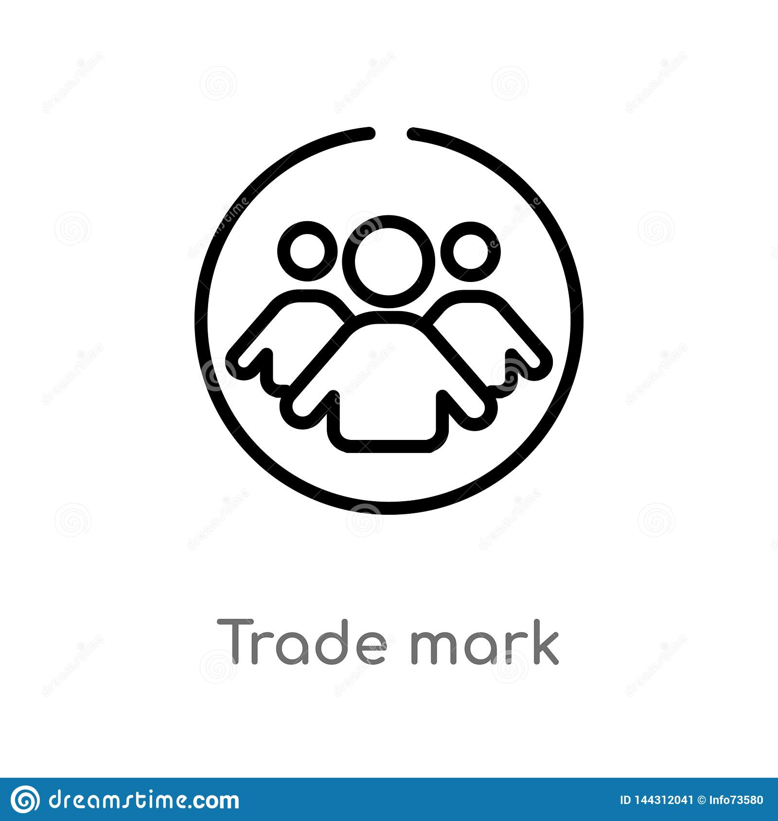outline trade mark vector icon. isolated black simple line element illustration from people concept. editable vector stroke trade